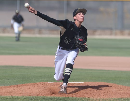 Seth Mattox of Xavier Prep pitches against Flintridge Prep during their game in Palm Desert, May 7, 2019.