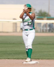 Coachella Valley High School's Cheyenne Sandoval gets excited as she reaches second base during her team's second round CIF game against La Puente in Thermal on May 7, 2019.