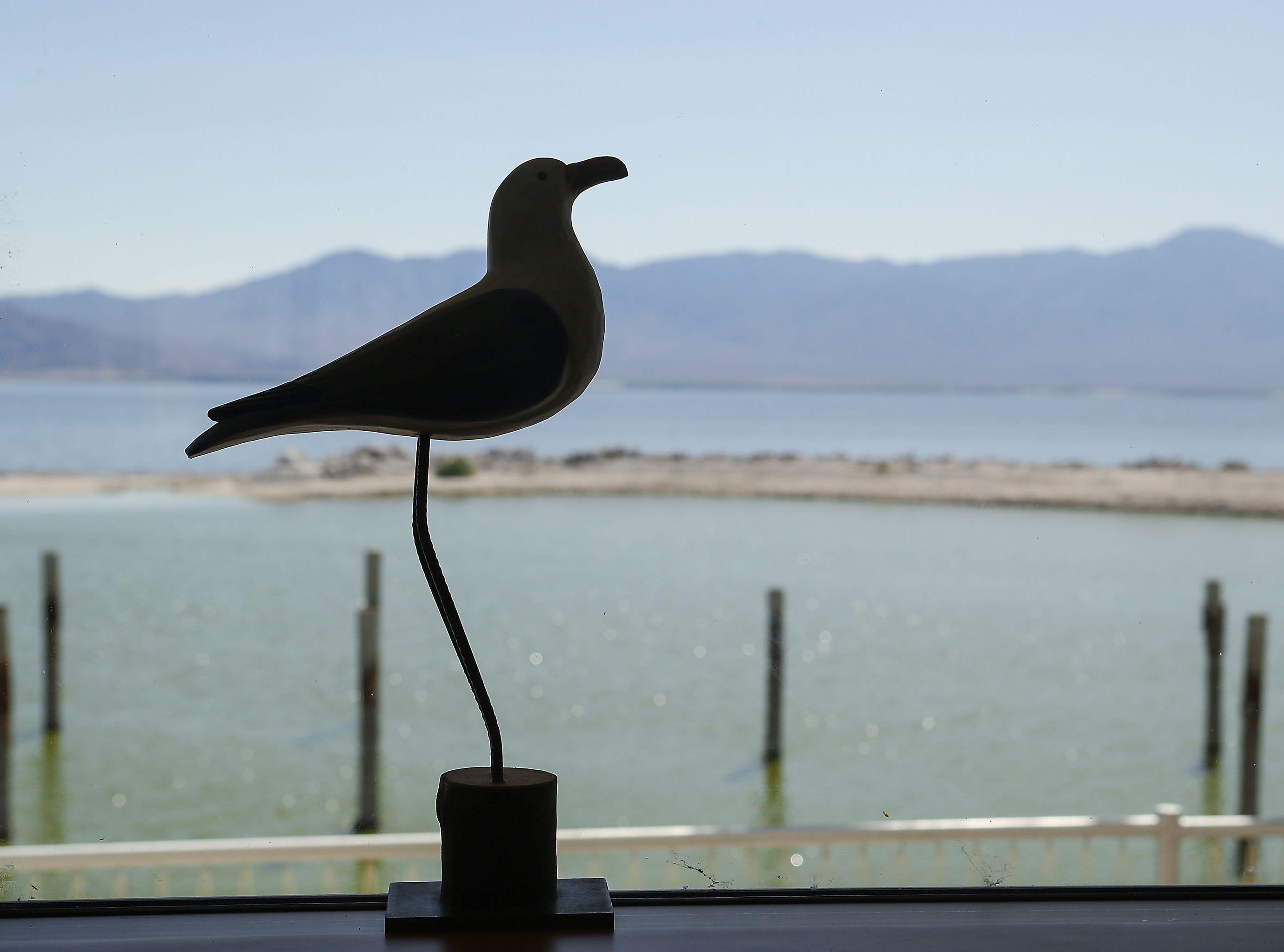 A bird sculpture at the North Shore Yacht Club at the Salton Sea, April 30, 2019.