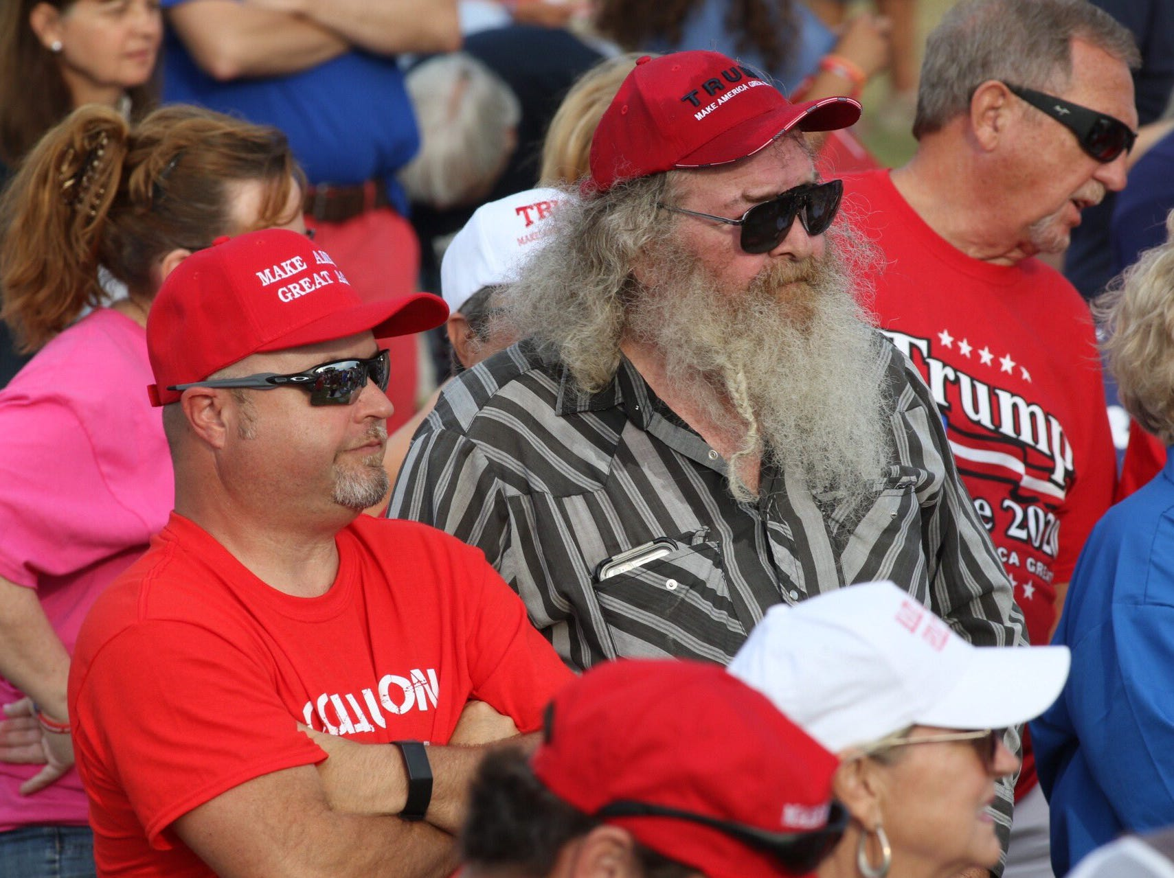 Scores of Trump supporters fill the stands at the re-election rally in Panama City, Fla. on Wednesday, May 8, 2019.