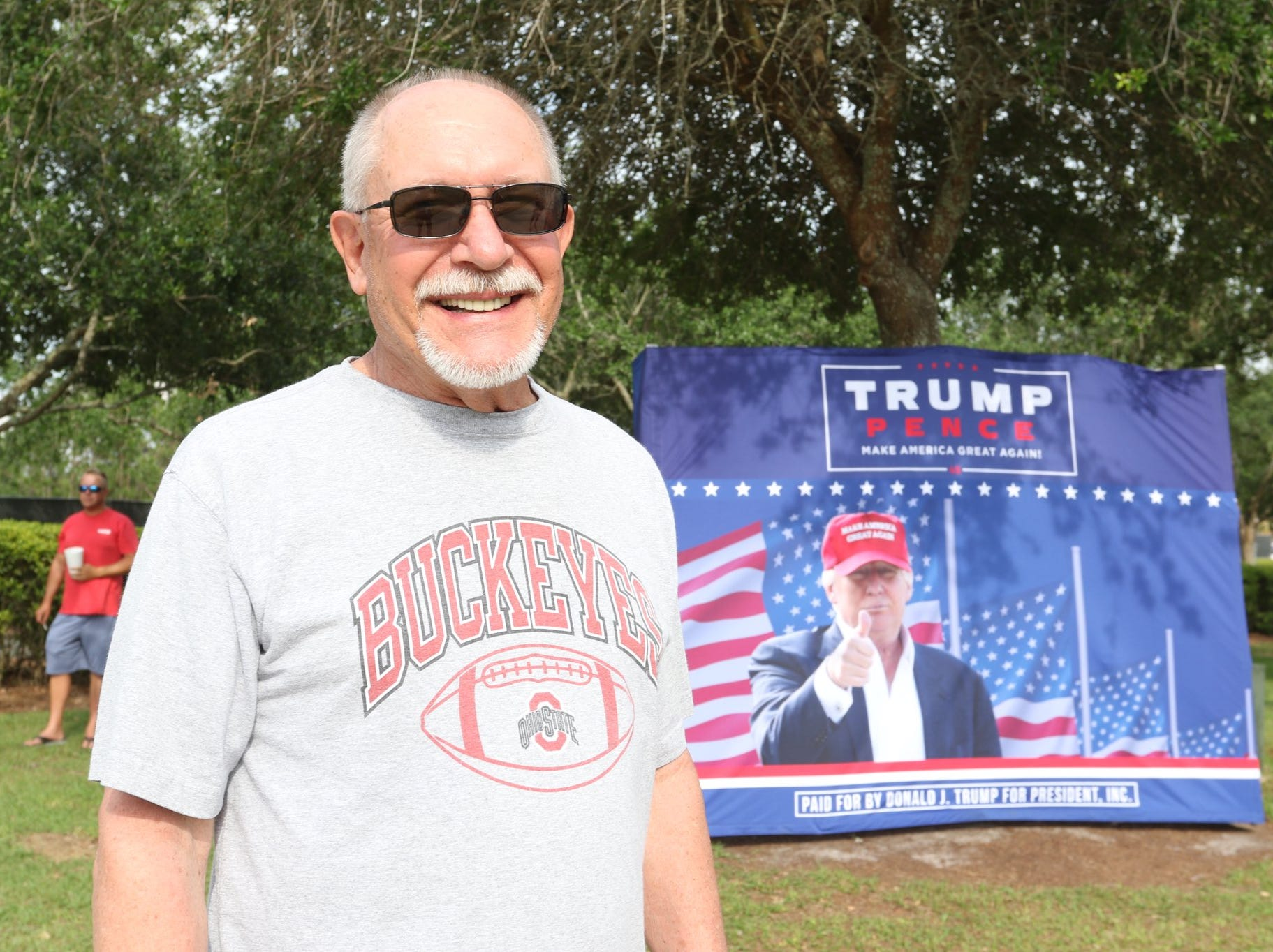 Supporters begin lining up for President Donald Trump's rally in Panama City, Fla., on Wednesday, May 8, 2019.