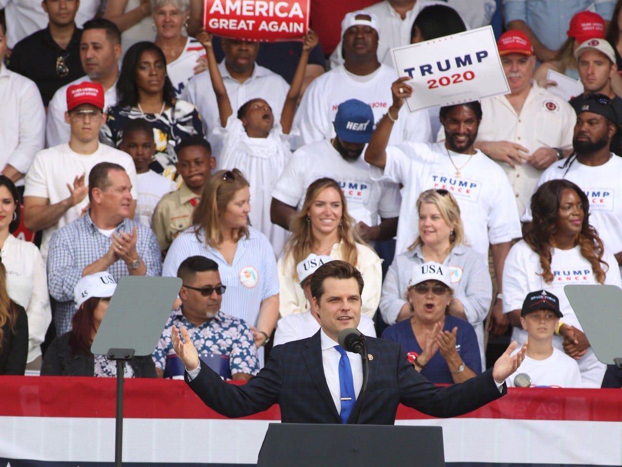 Rep. Matt Gaetz talks to the crowd at the Donald Trump re-election campaign rally at Panama City Beach, Fla., on Wednesday, May 8, 2019.