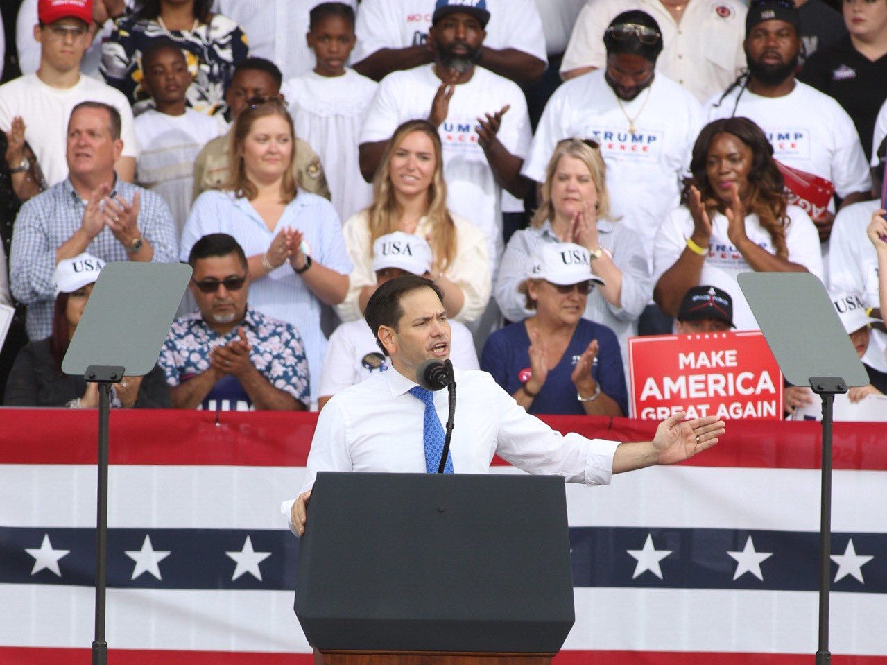 Sen. Marco Rubio, R-Fla., speaks to the crowd at the Donald Trump re-election campaign rally at Panama City Beach, Fla., on Wednesday, May 8, 2019.