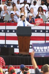 Sen. Marco Rubio, R-Fla., speaks to the crowd at the Donald Trump re-election campaign rally at Panama City Beach on May 8, 2019.