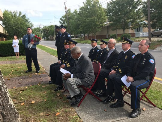 Pensacola Police Department commanders honor PPD officers who have lost their lives in the line of duty at a law enforcement memorial ceremony.