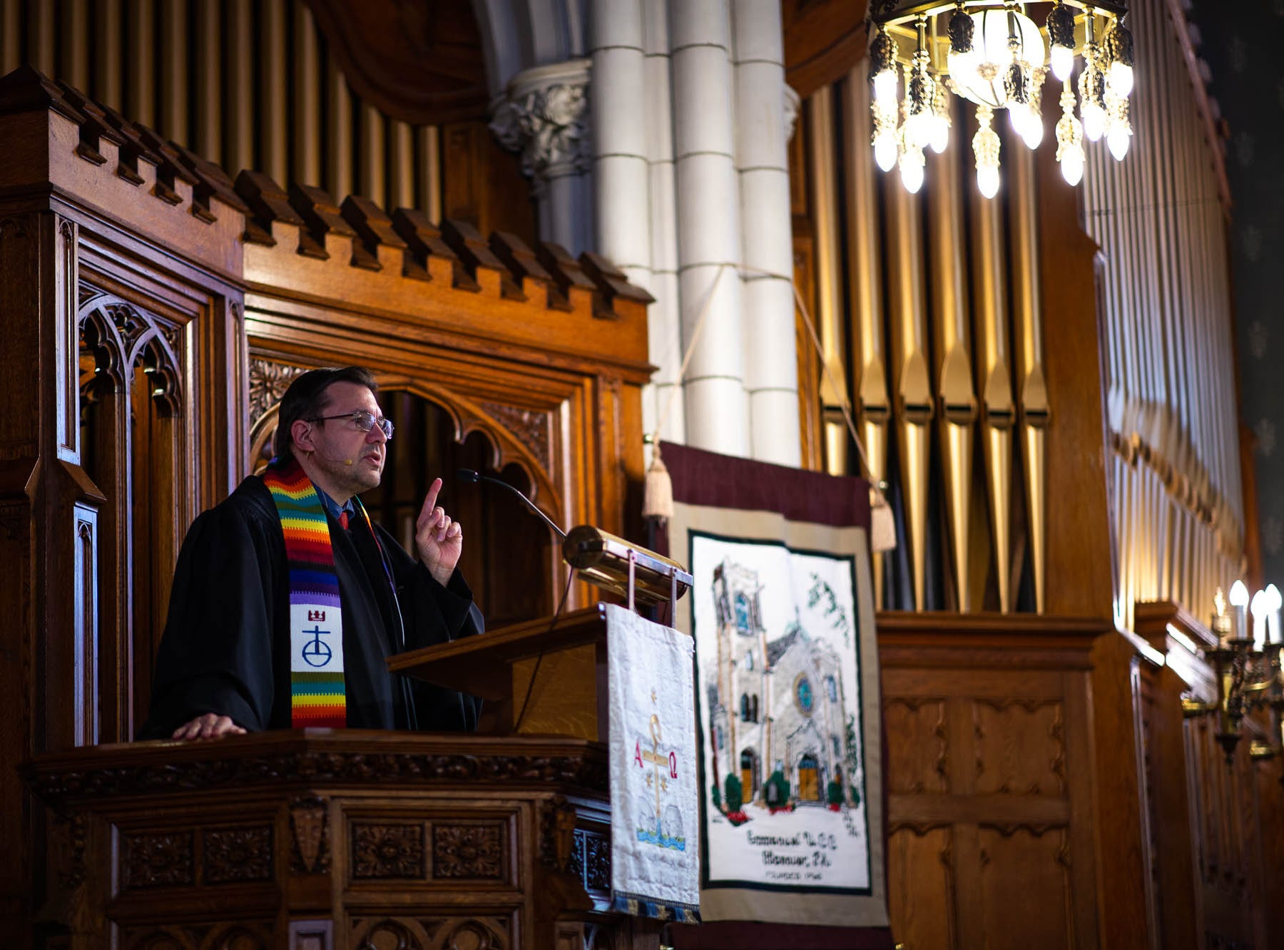 Reverend Russell Clark speaks during a diversity service at the Emmanuel United Church of Christ, Sunday, April 7, 2019, in Hanover. Reverend Clark is the first openly gay pastor at the church.