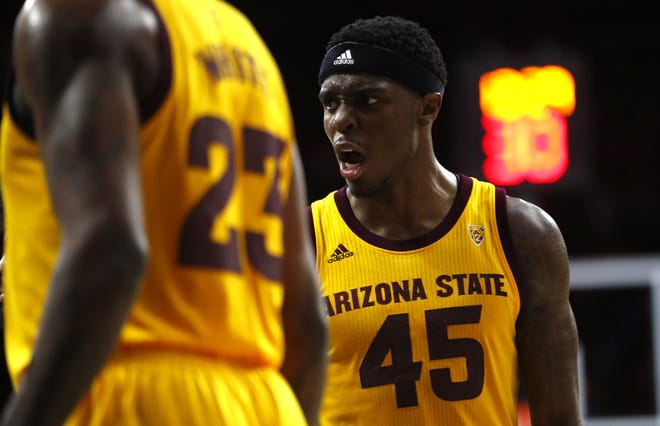 ASU's Zylan Cheatham (45) yells to his teammates during the second half against Arizona at the McKale Memorial Center in Tucson, Ariz. on March 9, 2019.
