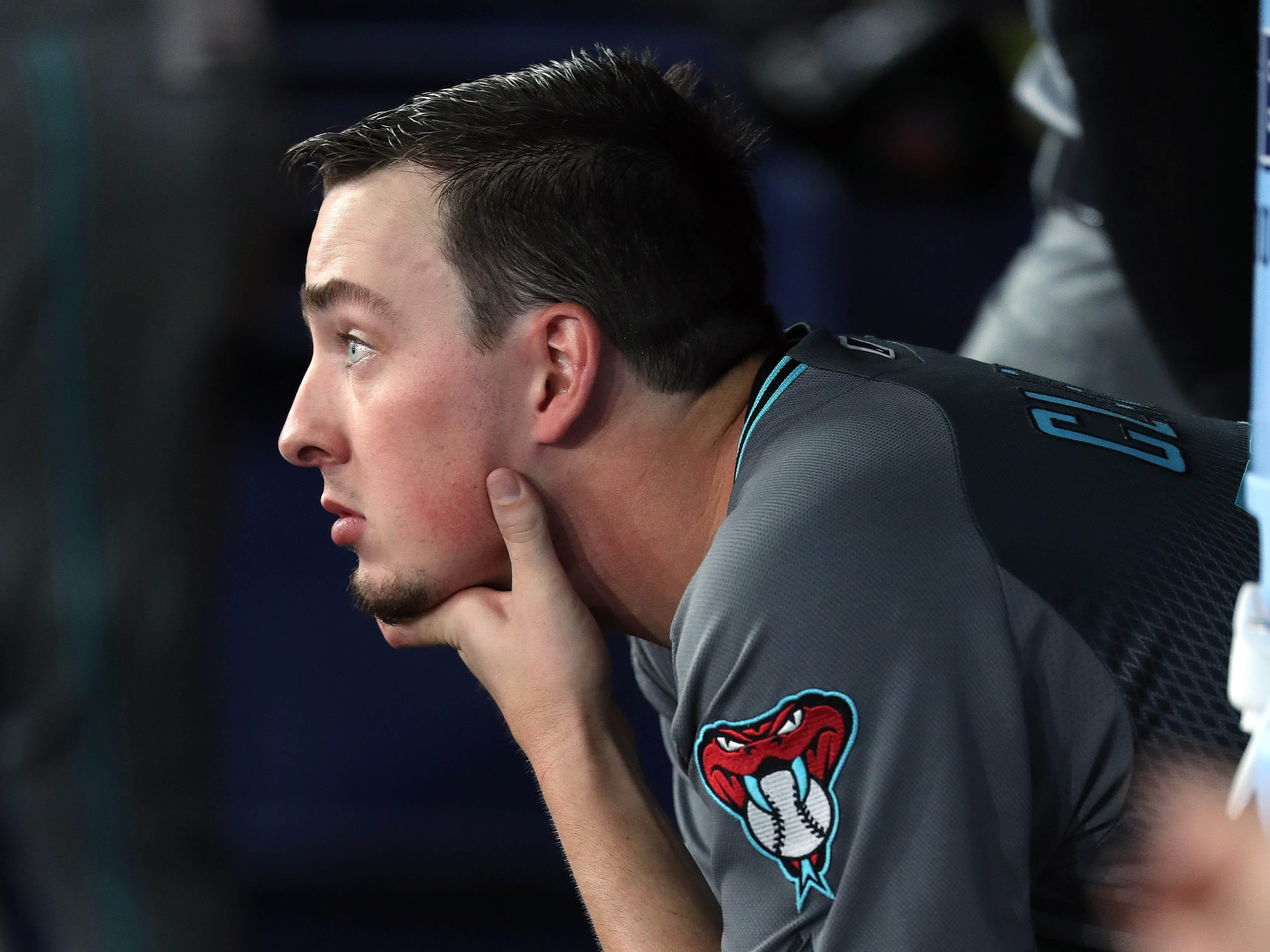 May 7, 2019; St. Petersburg, FL, USA; Arizona Diamondbacks starting pitcher Taylor Clarke (45) looks on from the dugout during the third inning against the Tampa Bay Rays at Tropicana Field. Mandatory Credit: Kim Klement-USA TODAY Sports