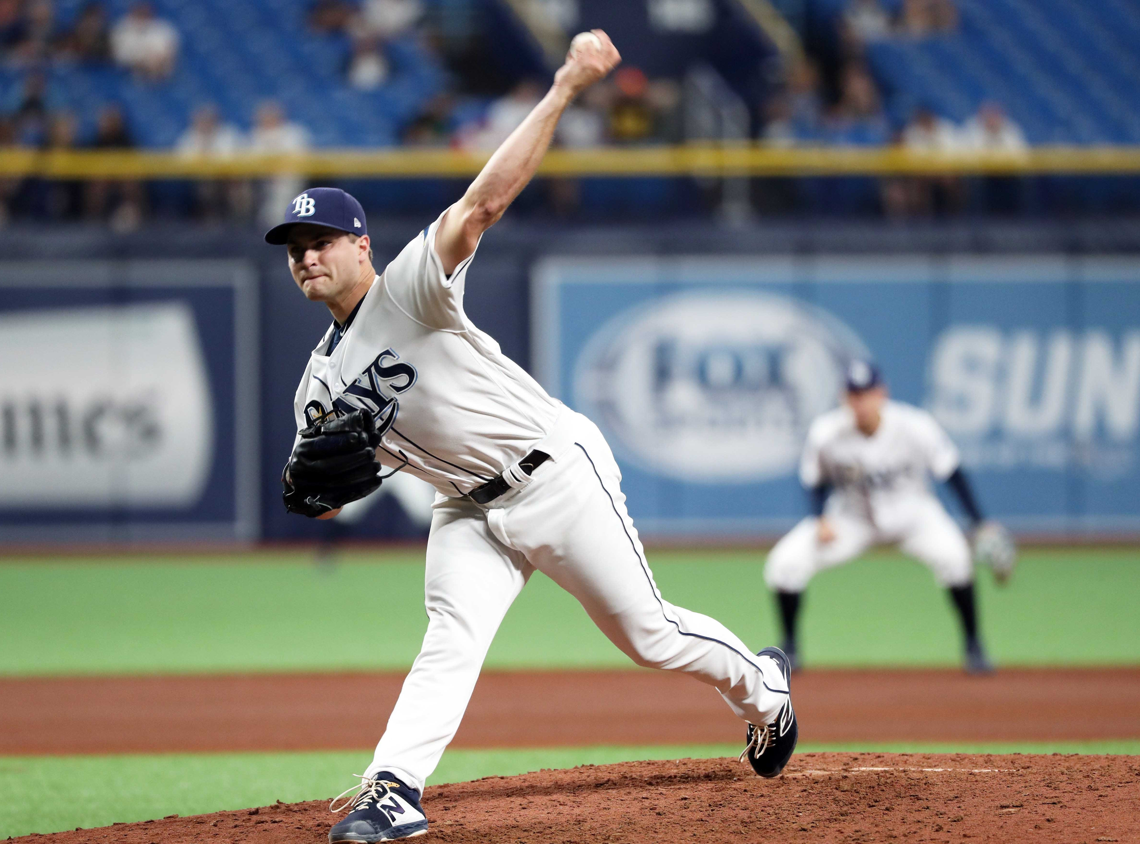 May 7, 2019; St. Petersburg, FL, USA; Tampa Bay Rays relief pitcher Jalen Beeks (68) throws a pitch during the fifth inning against the Arizona Diamondbacks at Tropicana Field. Mandatory Credit: Kim Klement-USA TODAY Sports