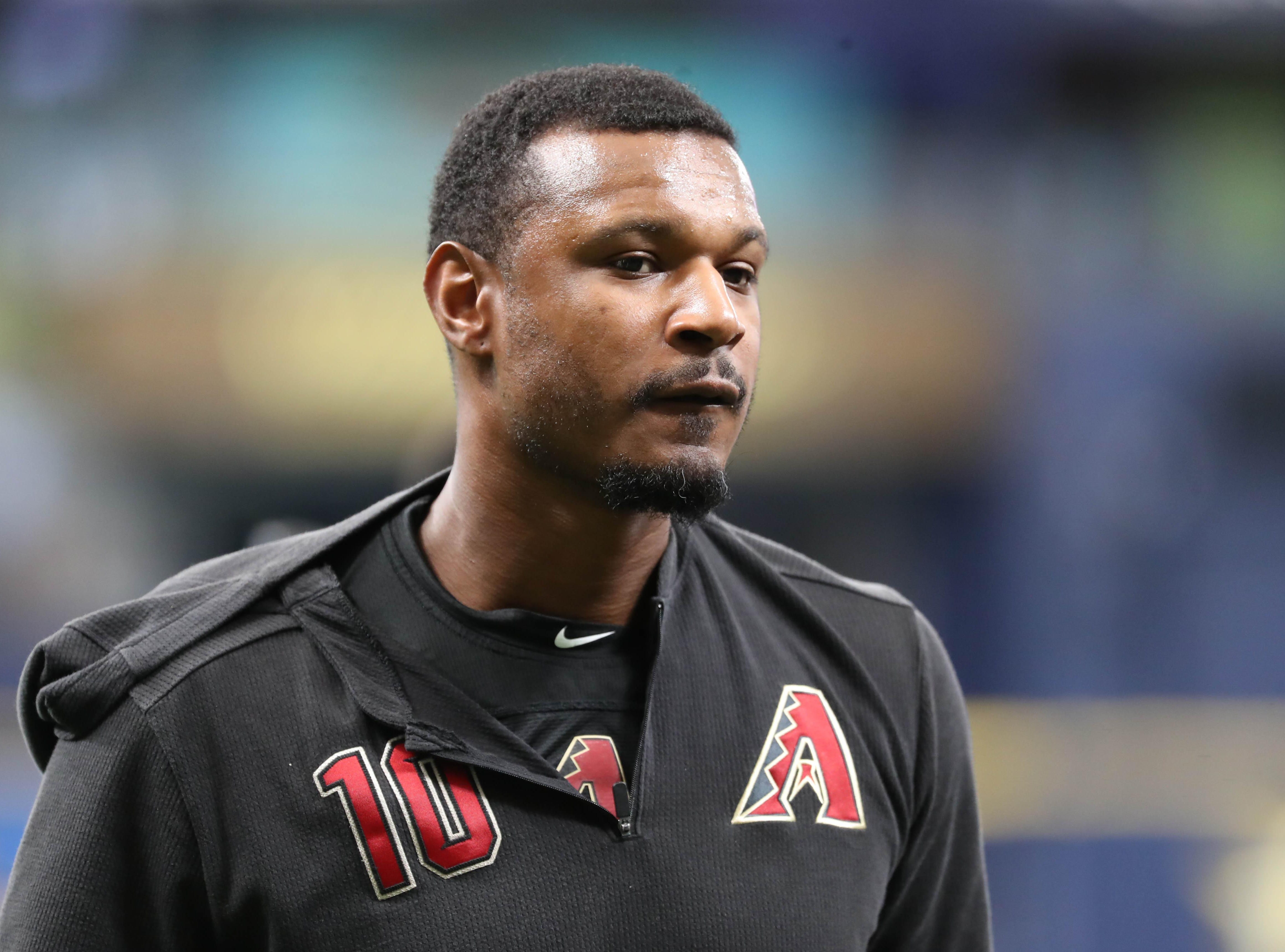 May 7, 2019; St. Petersburg, FL, USA; Arizona Diamondbacks right fielder Adam Jones (10) works out prior to the game against the Tampa Bay Rays at Tropicana Field. Mandatory Credit: Kim Klement-USA TODAY Sports