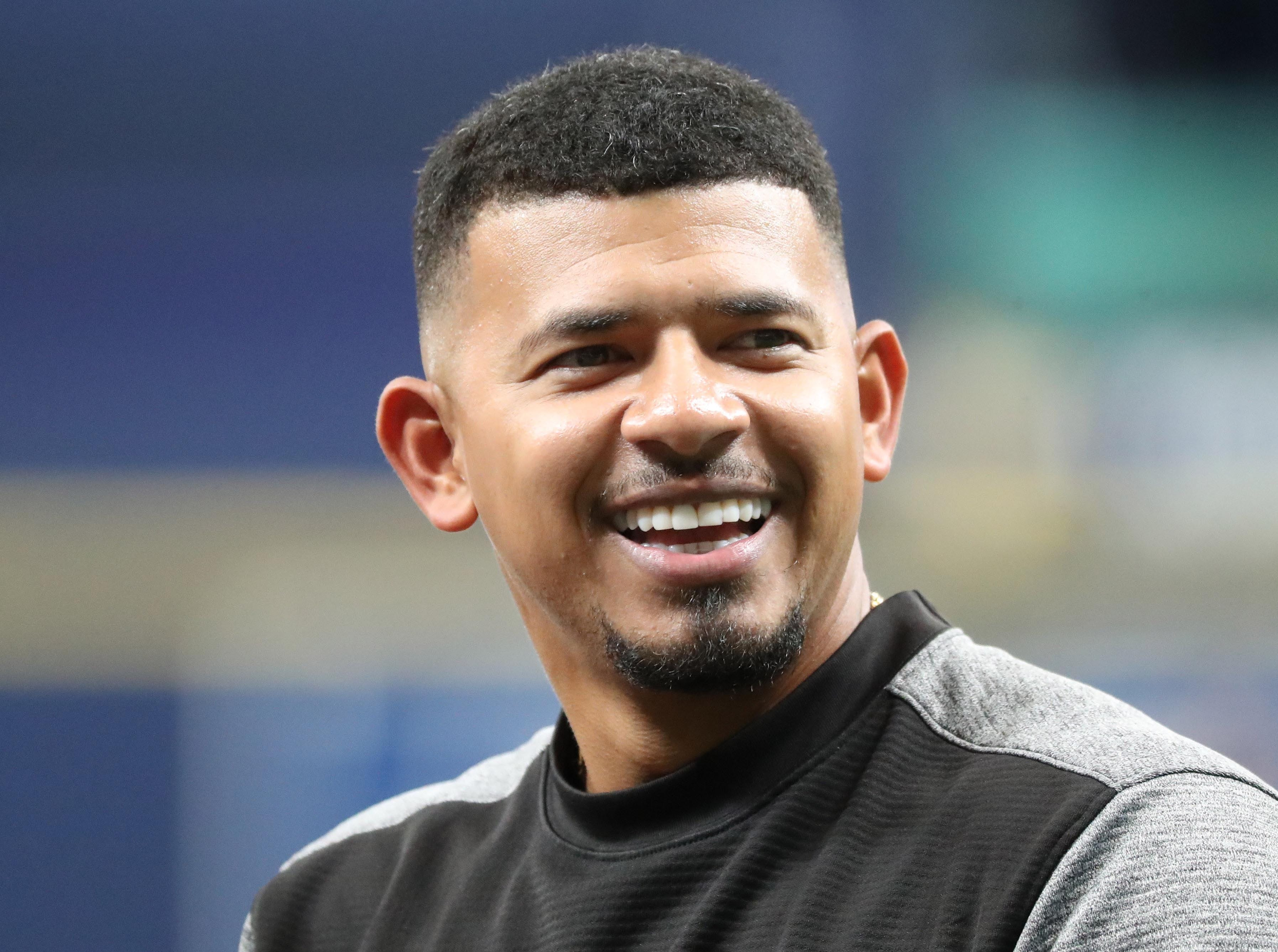 May 7, 2019; St. Petersburg, FL, USA; Arizona Diamondbacks third baseman Eduardo Escobar (5) works out prior to the game against the Tampa Bay Rays at Tropicana Field. Mandatory Credit: Kim Klement-USA TODAY Sports