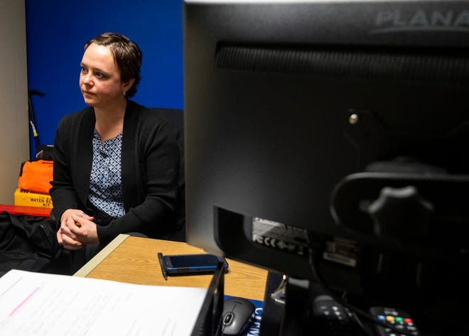 Port Huron Police Department Crime Analyst Melissa Jacobs, pictured in her office Friday, May 3, 2019 in the Municipal Office Center in Port Huron.