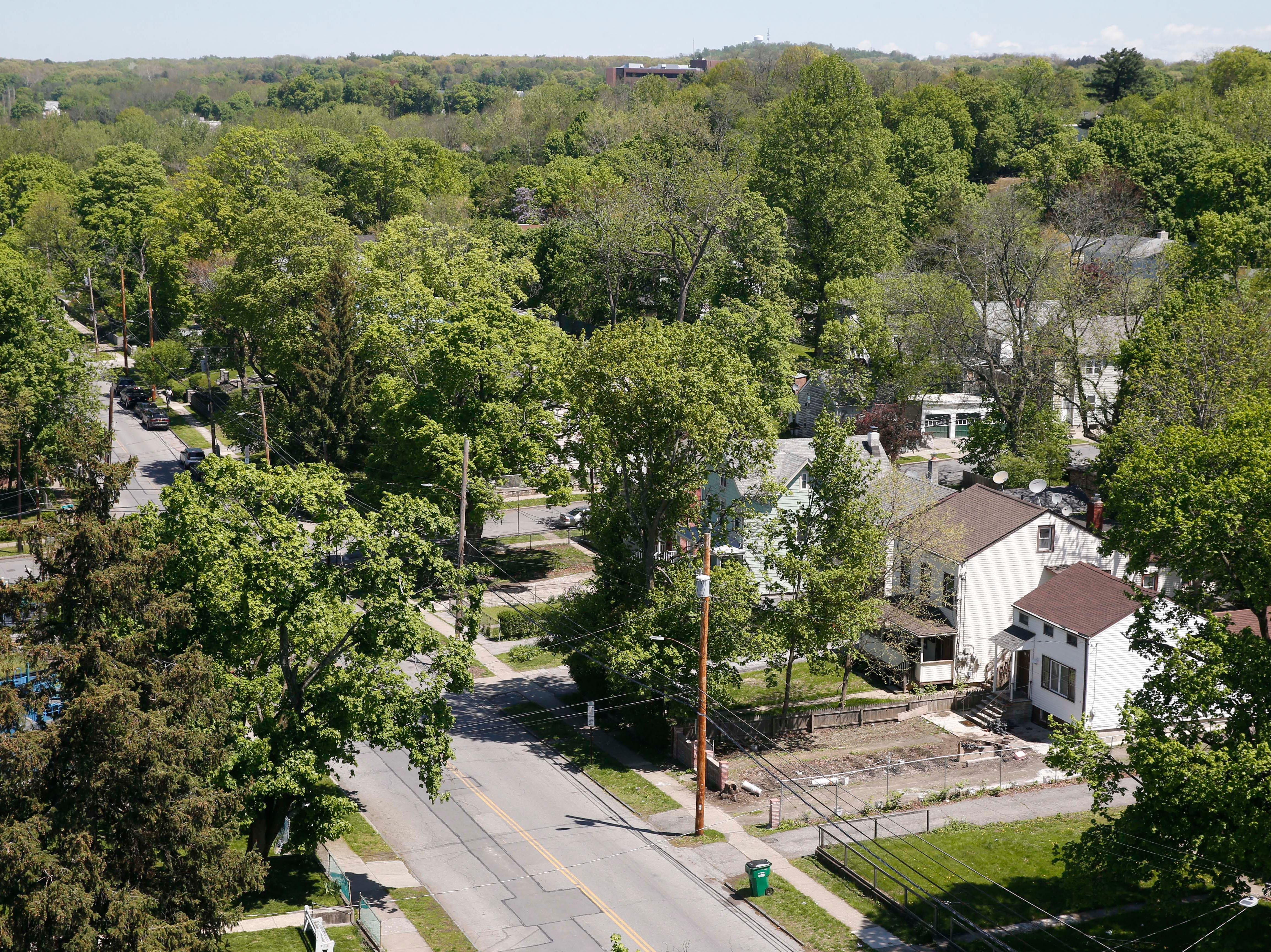 The intersection of Delafield Street and Hoffman Street as seen from the Walkway Over the Hudson in the City of Poughkeepsie on May 8, 2019. Carol Kozlowski resides in this neighborhood.