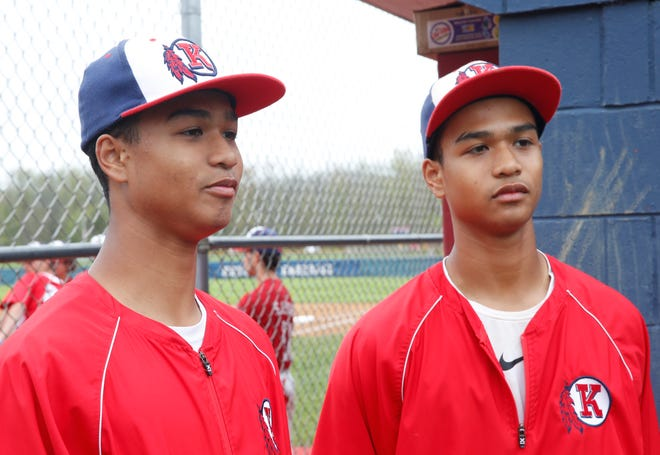 Roy C. Ketcham's from left, Phoenix and Quentin Bowman before a game on May 3, 2019.