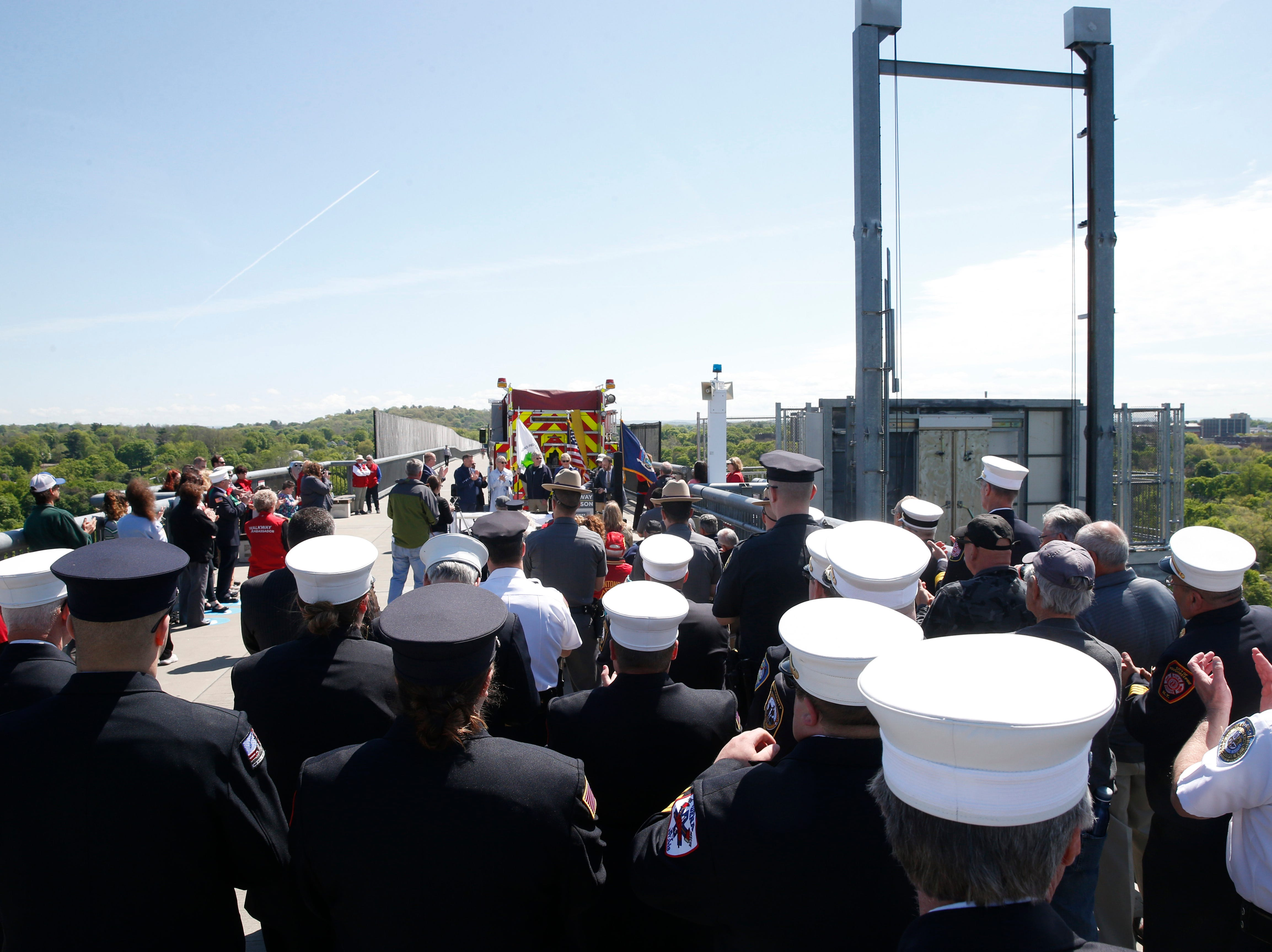 First responders and law enforcement from around the region in attendance of Wednesday's commemoration of 45th anniversary of the fire that engulfed the railroad bridge on May 8, 2019.