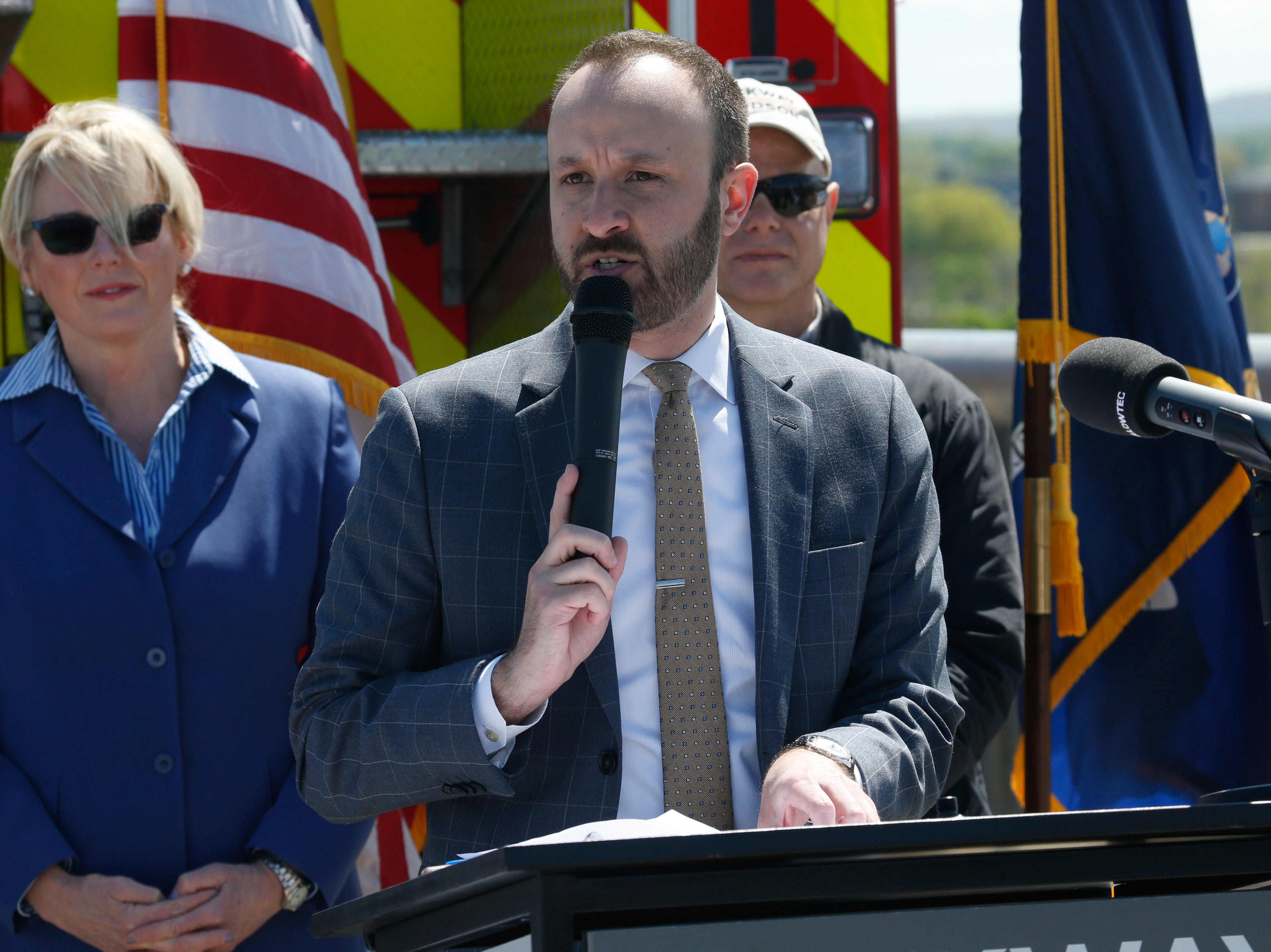 Walkway Over the Hudson director of communications Geoff Brault speaks during Wednesday's commemoration of 45th anniversary of the fire that engulfed the railroad bridge on May 8, 2019.