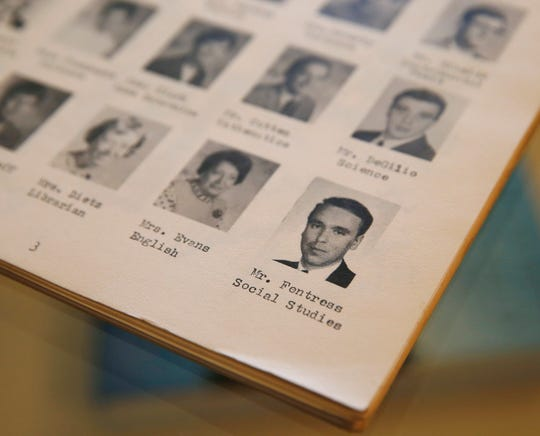 Yearbooks from John Forbus Jr. High School owned by Jode Millman with photos of Albert Fentress at Millman's home in the City of Poughkeepsie on May 2, 2019.