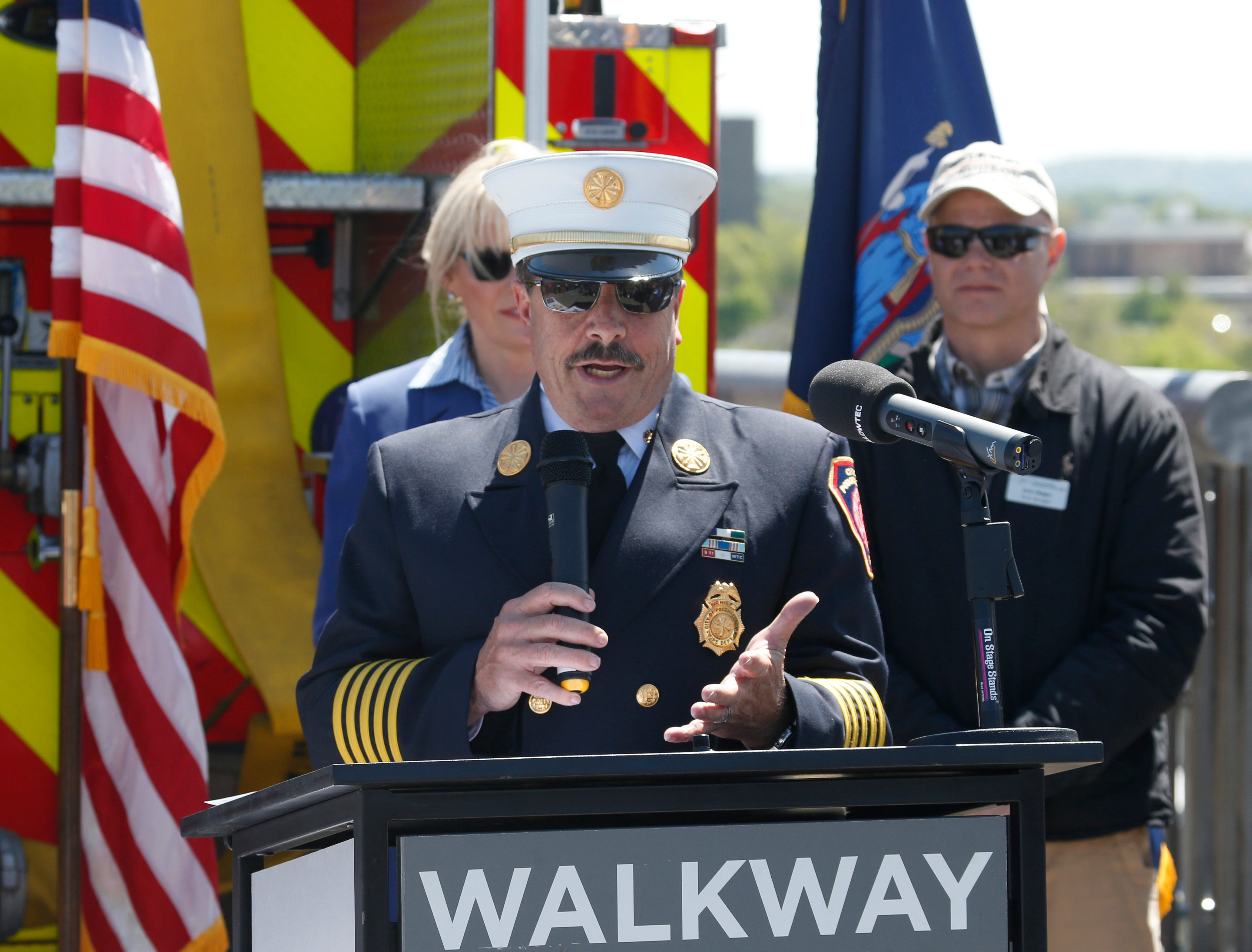 City of Poughkeepsie fire chief Mark Johnson speaks during Wednesday's commemoration of 45th anniversary of the fire that engulfed the railroad bridge on May 8, 2019.