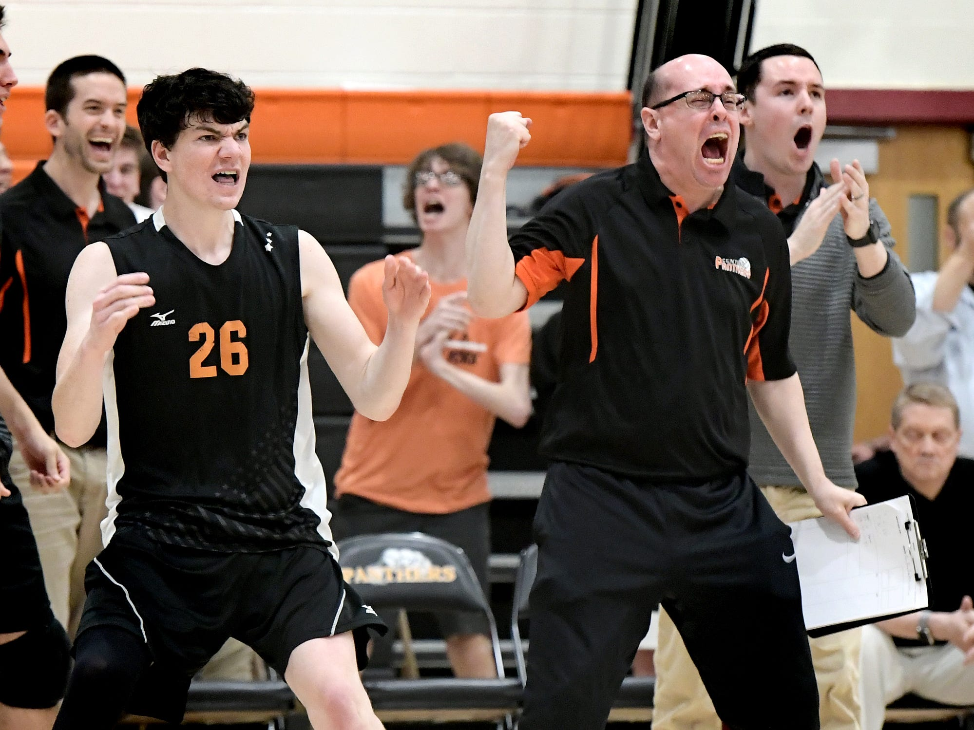 Central York coach Dwayne Warehime and Eric Bowman react during action at against visiting Northeastern Tuesday, May 7, 2019. Northeastern earned the York-Adams League regular-season title with a 3-1 win. Bill Kalina photo