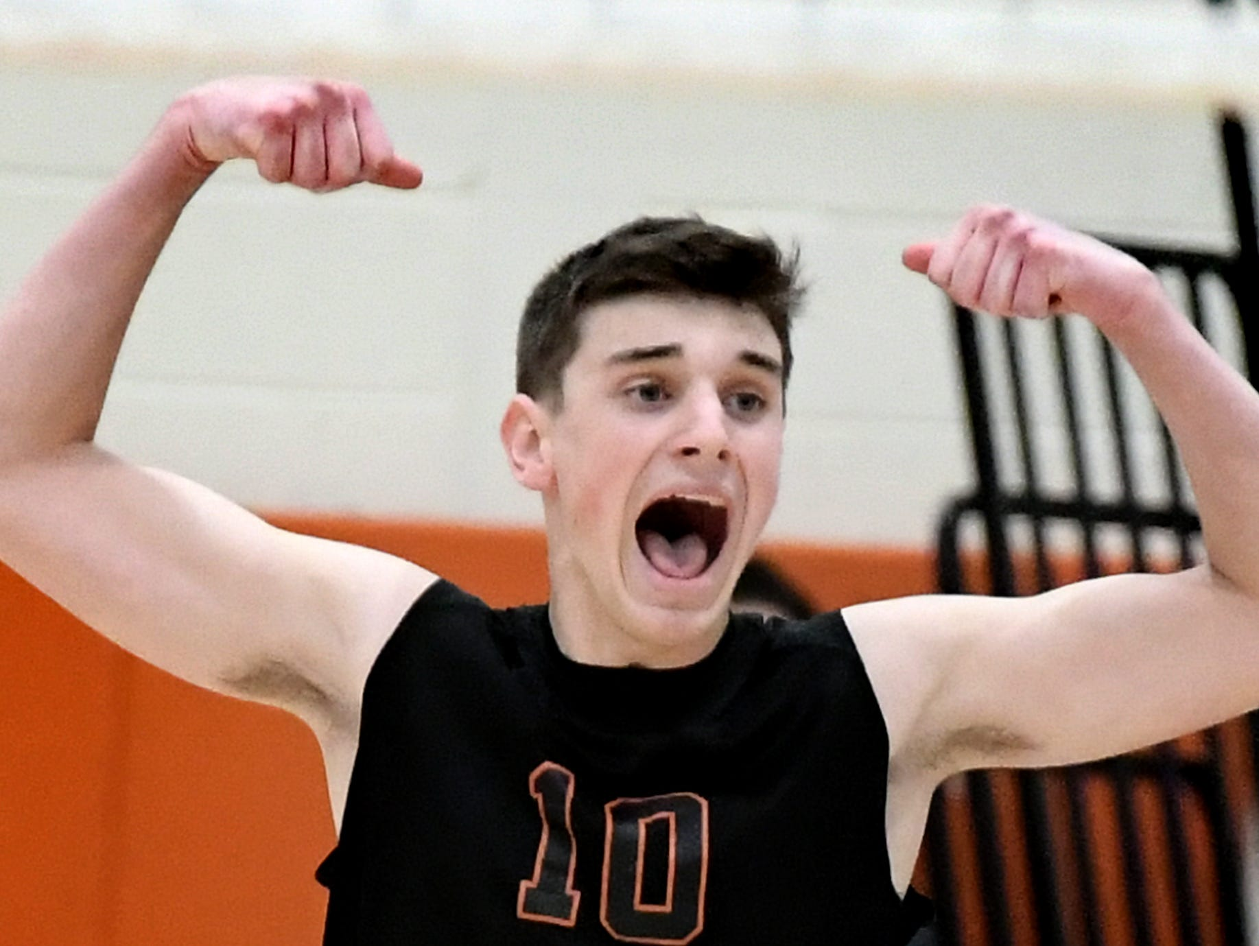 Northeastern's Brady Lemen celebrates a point over host Central York Tuesday, May 7, 2019. The Bobcats earned the York-Adams League regular-season title with the 3-1 win. Bill Kalina photo