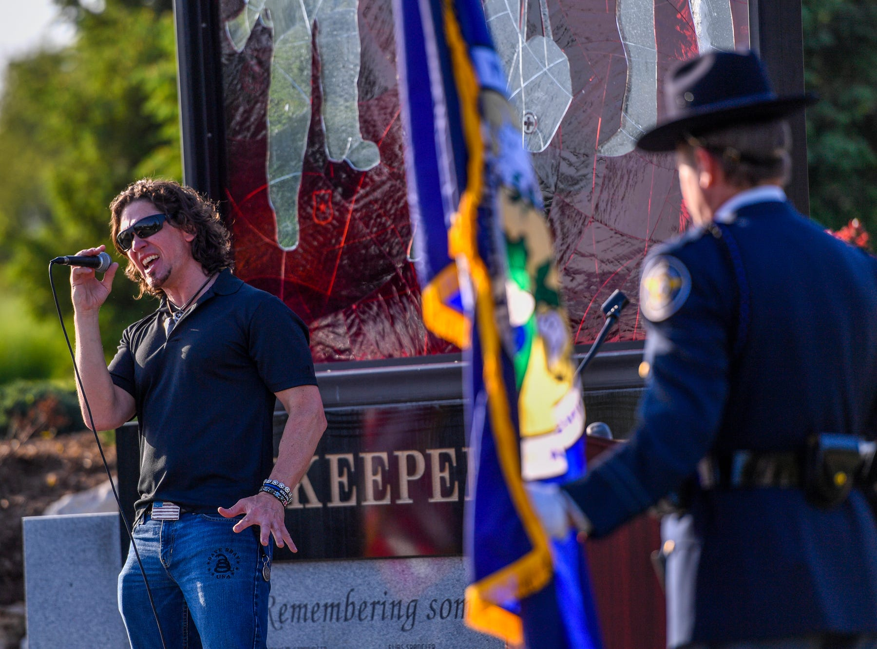 "Local patriotic rocker Dave Bray USA sings ""Last Call"" during a Law Enforcement Community Remembrance event at Prospect Hill Cemetery,  Tuesday, May 7, 2019.