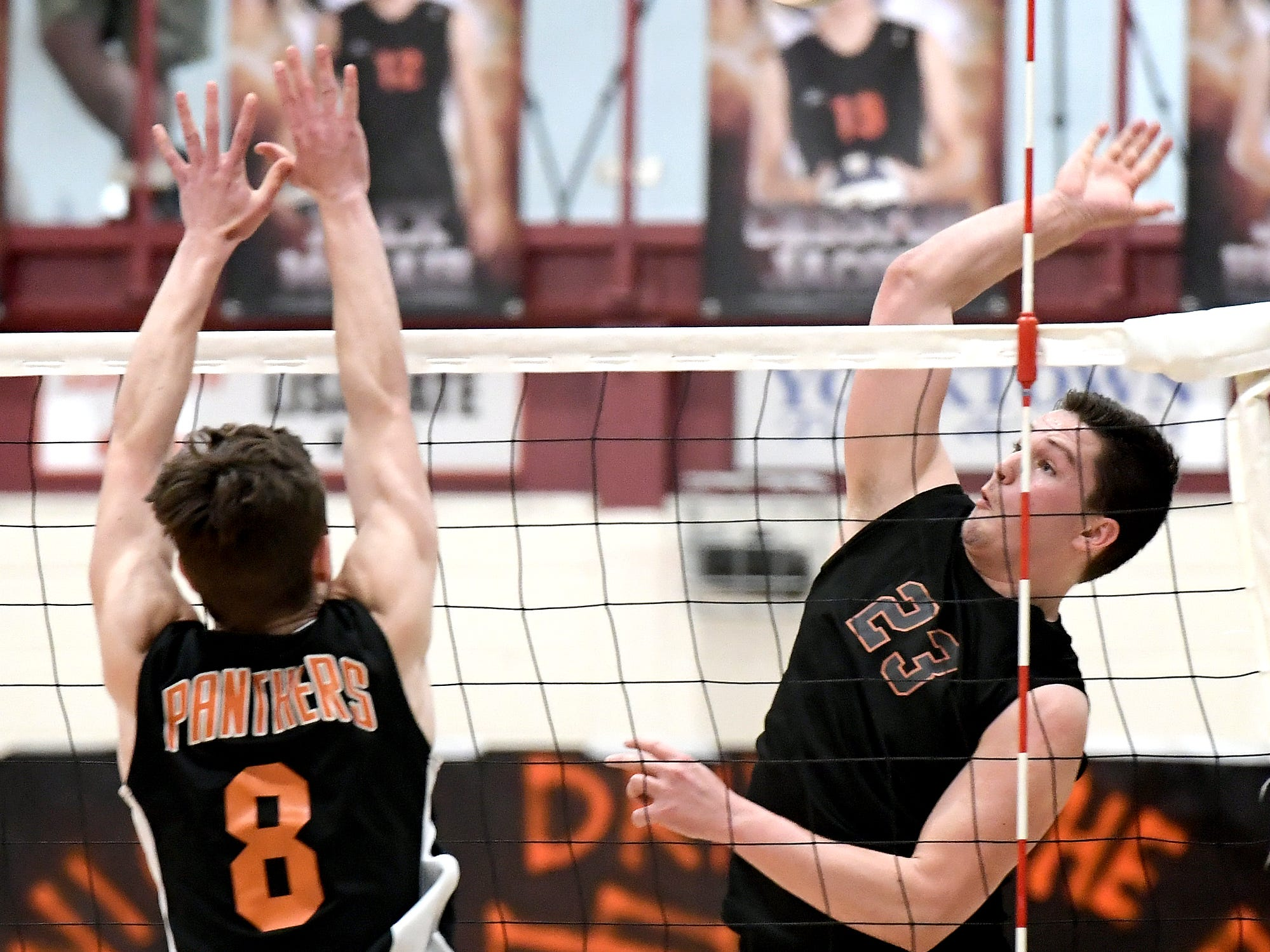 Northeastern's Alex Finch slams a shot past Central's Brock Anderson, left, during action at Central York Tuesday, May 7, 2019. The Bobcats earned the York-Adams League regular-season title with a 3-1 win. Bill Kalina photo