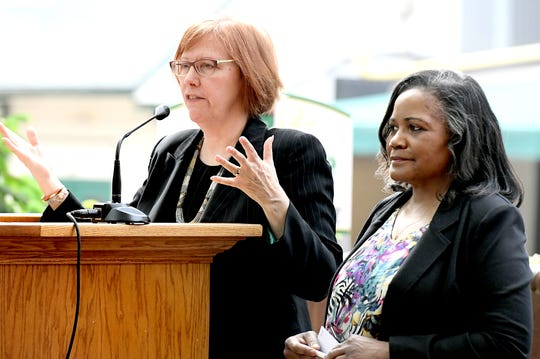 Confronting Racism Coalition representatives Jean Treuthart, CEO of the York YWCA, and community activist Ophelia Chambliss speak during a CRC press conference outside the Jewish Community Center's IDEAS Center in Cherry Lane Park Wednesday, May 8, 2019. During the event, members of the CRC shared its vision for creating equality in the York Community. Bill Kalina photo