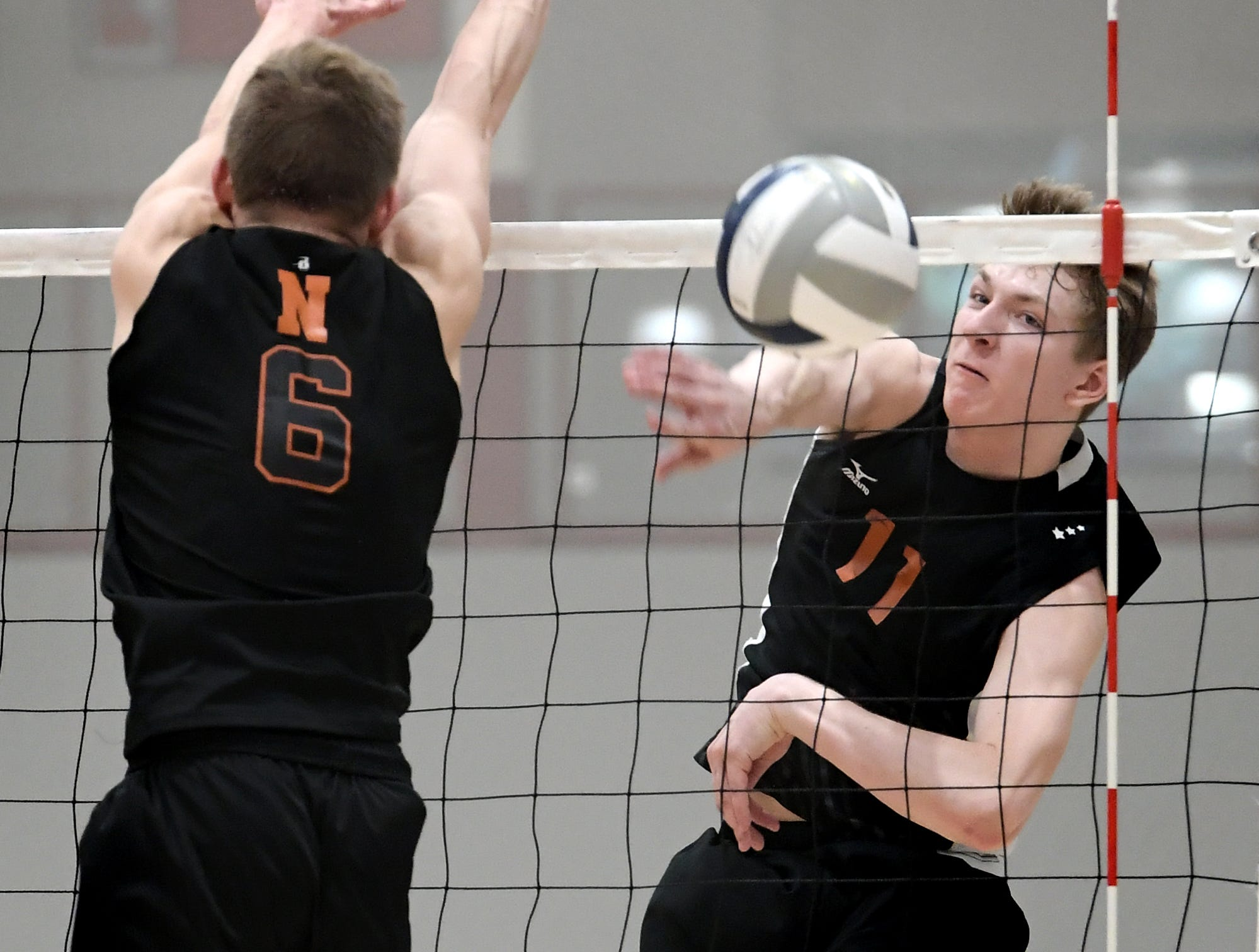 Central York's Braden Richard gets a shot past Northeastern's Austin Richards, left, during action at Central York Tuesday, May 7, 2019. Northeastern earned the York-Adams League regular-season title with a 3-1 win. Bill Kalina photo