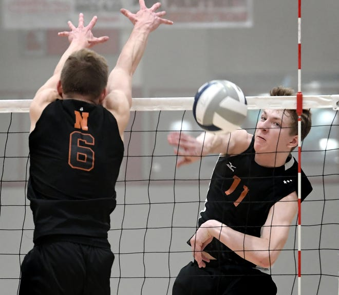 Central York's Braden Richard gets a shot past Northeastern's Austin Richards, left, during action at Central York on Tuesday, May 7. Northeastern earned the York-Adams League regular-season title with a 3-1 win. Central turned the tables on Northeastern on Tuesday night, earning a 3-2 win in the state 3-A semifinals. Bill Kalina photo