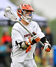 Central York's Drake Little during boys lacrosse semifinal action against Susquehannock at South Western High School in Hanover, Wednesday, May 8, 2019. Dawn J. Sagert photo