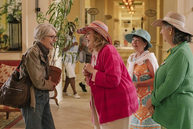"""Diane Keaton, Karen Beyer, Sharon Blackwood and Celia Weston star in """"poms."""" The movie is playing at Regal West Manchester and R/C Hanover Movies."""