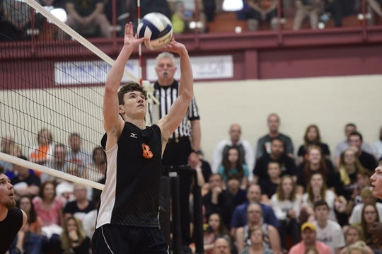 Central York setter Brock Anderson passes to a teammate Tuesday, May 7, 2019.