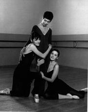 Three generations of dancers: From left to right -- Rosine Bena (kneeling), Anne Bena (standing), Ananda Bena-Weber (sitting)