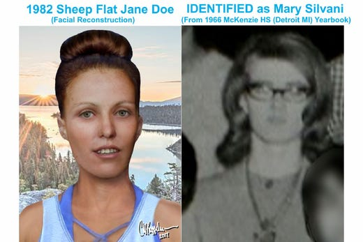 Sheep's Flat Jane Doe, tied to...