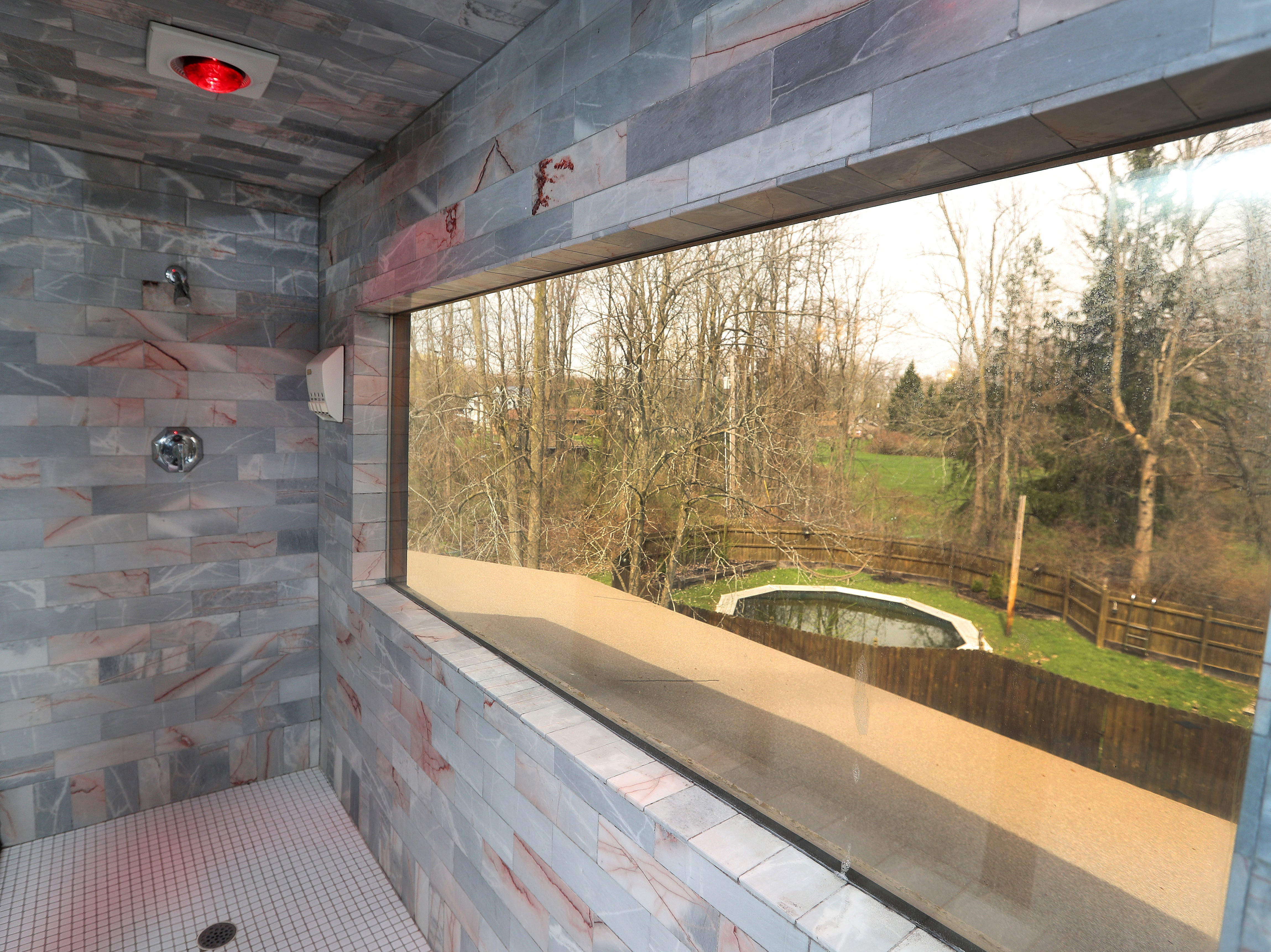 A steam shower overlooks the property.