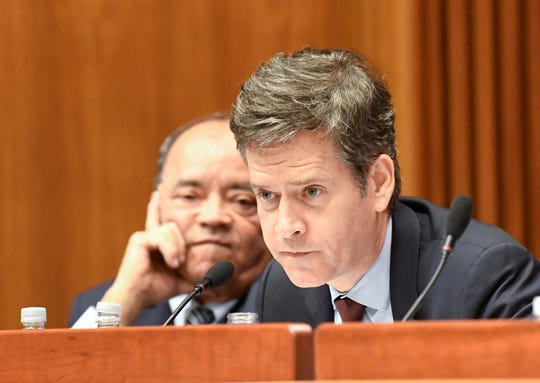 New York Sen. Martin Malavé Dilan, D-Brooklyn, left, and Sen. Brad Hoylman, D-New York, ask questions as legislative leaders interview candidates for the Office of the Attorney General after former Attorney General Eric Schneiderman resigned amid domestic abuse allegations Tuesday, May 15, 2018, in Albany, N.Y.