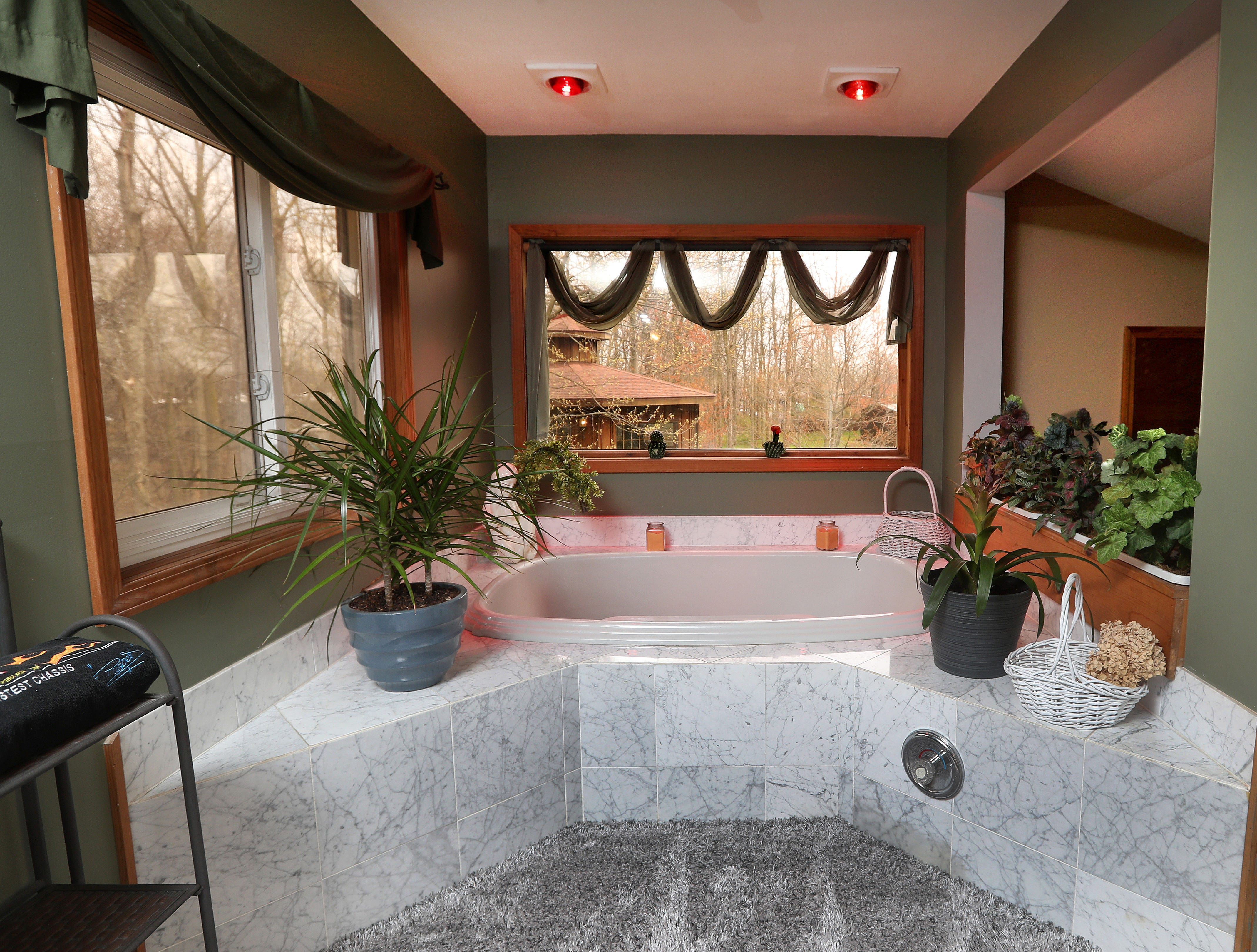 A Jacuzzi tub in the upstairs bathroom.