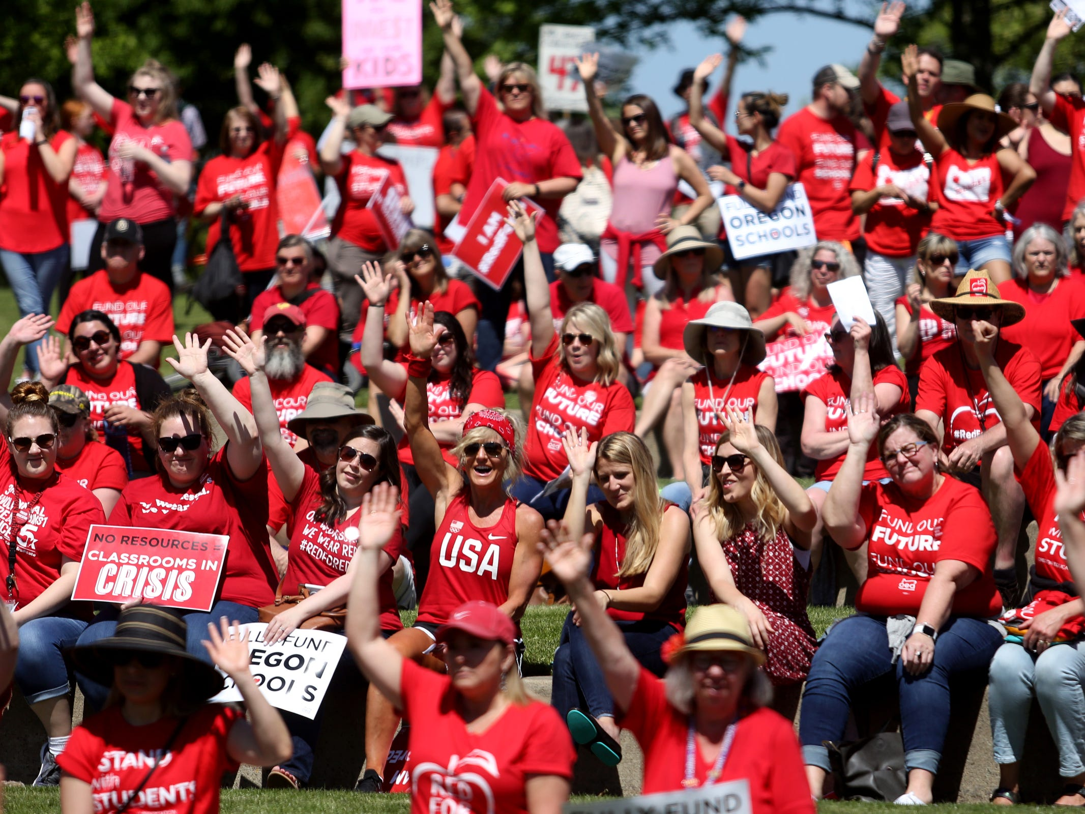 More than 1,000 teachers and education activists rally for a day of action starting at Riverfront Park in Salem on May 8, 2019. Schools across Oregon closed early or were closed for the day as teachers walked out to demand more school funding to address large class sizes, low graduation rates and other concerns.