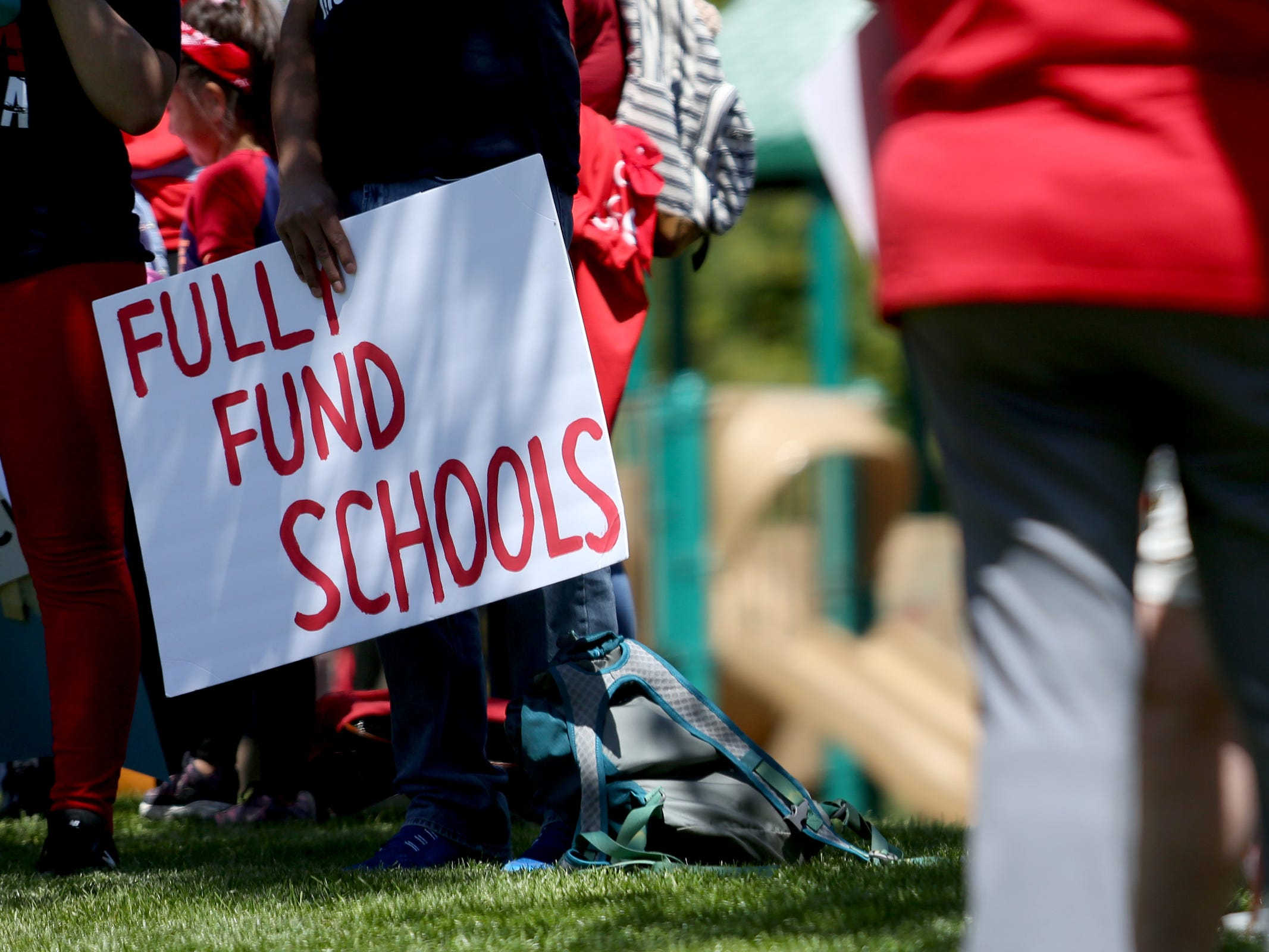 Thousands of teachers and education activists rally for a day of action starting at Riverfront Park in Salem on May 8, 2019. Schools across Oregon closed early or were closed for the day as teachers walked out to demand more school funding to address large class sizes, low graduation rates and other concerns.
