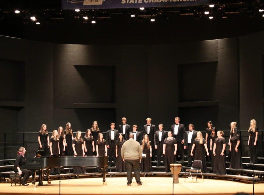 Salem Academy's choir, under the direction of Kent Wilson, performs at the OSAA Choir State Championships at Oregon State University in Corvallis on April 29, 2019.