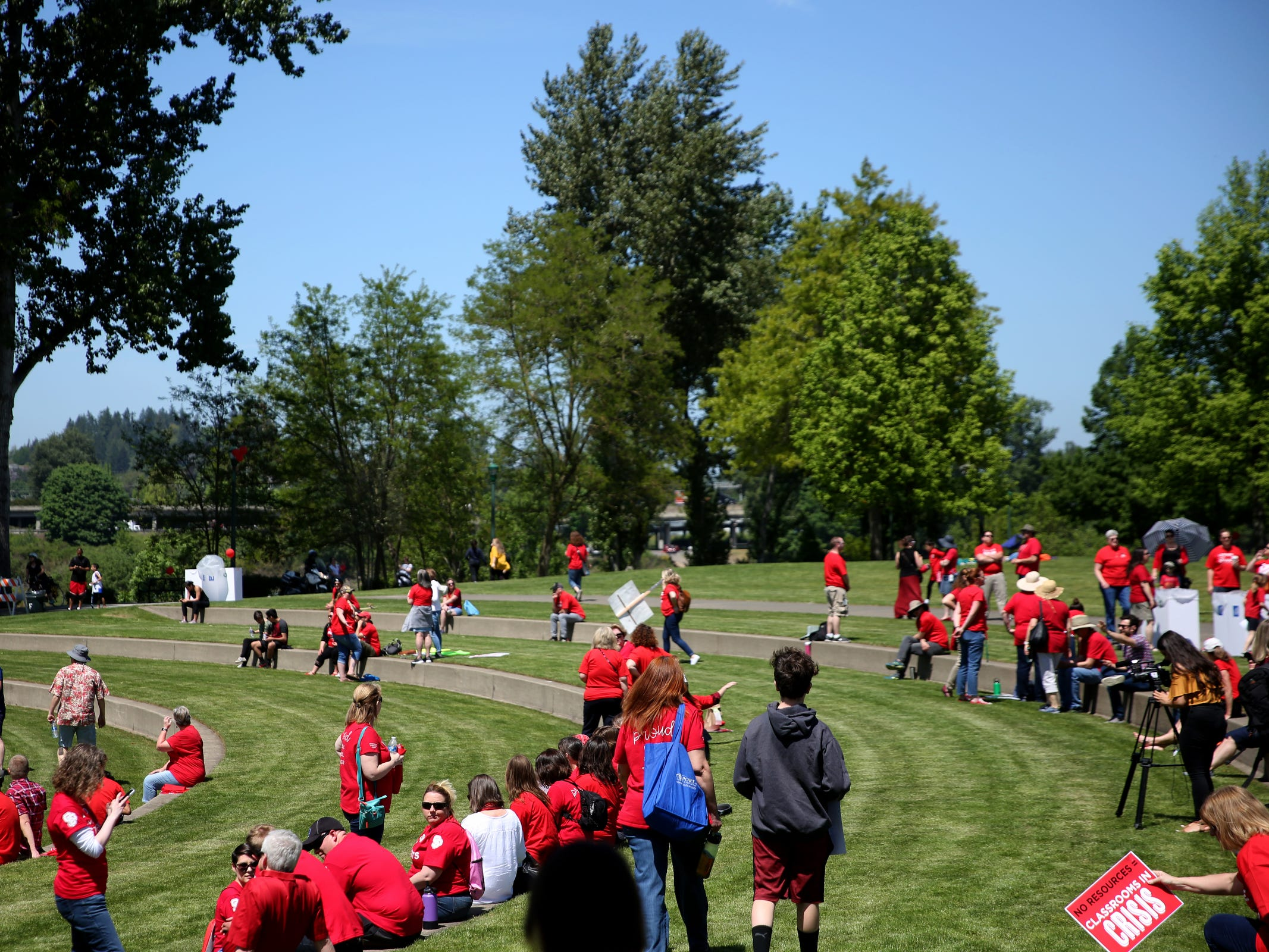 Hundreds of teachers and education activists rally for a day of action starting at Riverfront Park in Salem on May 8, 2019. Schools across Oregon closed early or were closed for the day as teachers walked out to demand more school funding to address large class sizes, low graduation rates and other concerns.