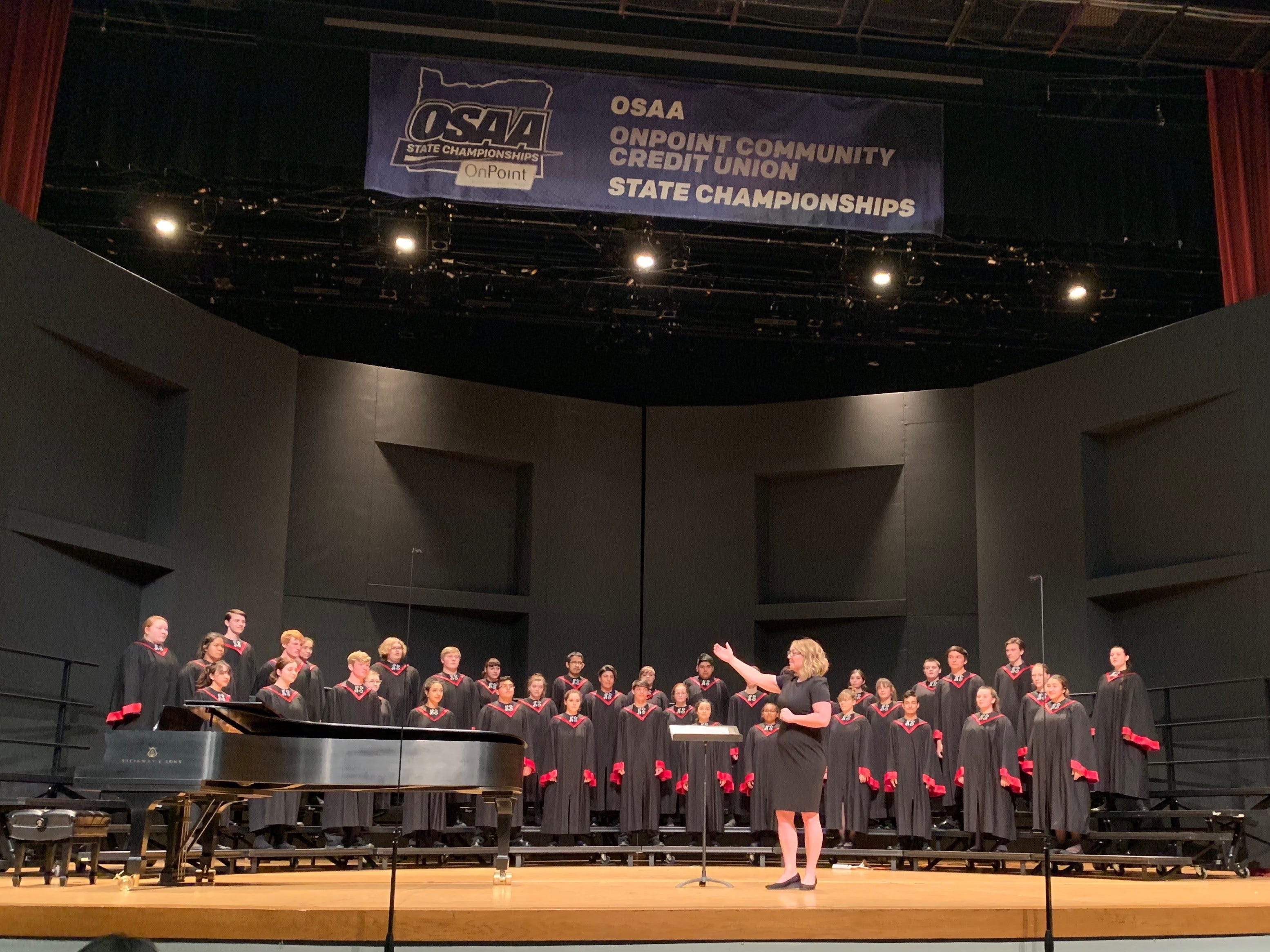 North Salem High School's choir, under the direction of Jennifer Kercher, perform at the OSAA Choir State Championships at Oregon State University in Corvallis on April 30, 2019.