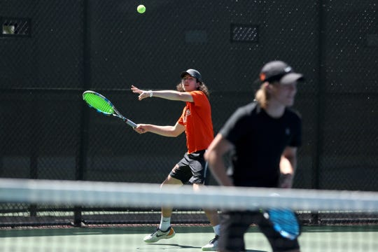 Sprague's Grant Vlahandreas competes in the Mountain Valley Conference boys tennis championships at the Salem Tennis and Swim Club on May 7, 2019.