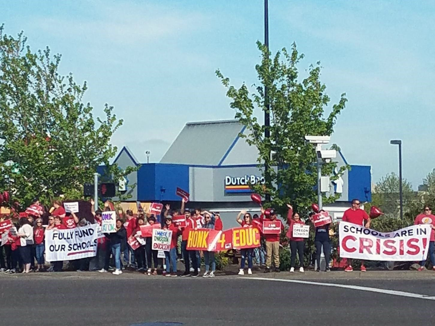 Supporters rally in Woodburn on the Oregon 'Day of Action'