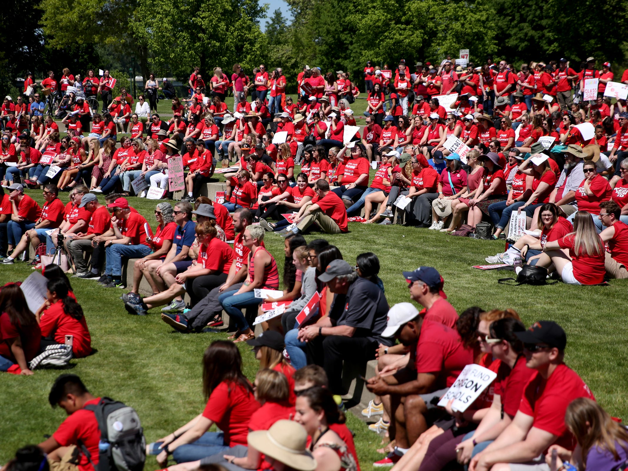 More than 2,000 teachers and education activists rally for a day of action starting at Riverfront Park in Salem on May 8, 2019. Schools across Oregon closed early or were closed for the day as teachers walked out to demand more school funding to address large class sizes, low graduation rates and other concerns.