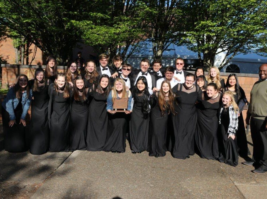 Salem Academy's choir at the OSAA Choir State Championships at Oregon State University in Corvallis on April 29, 2019.