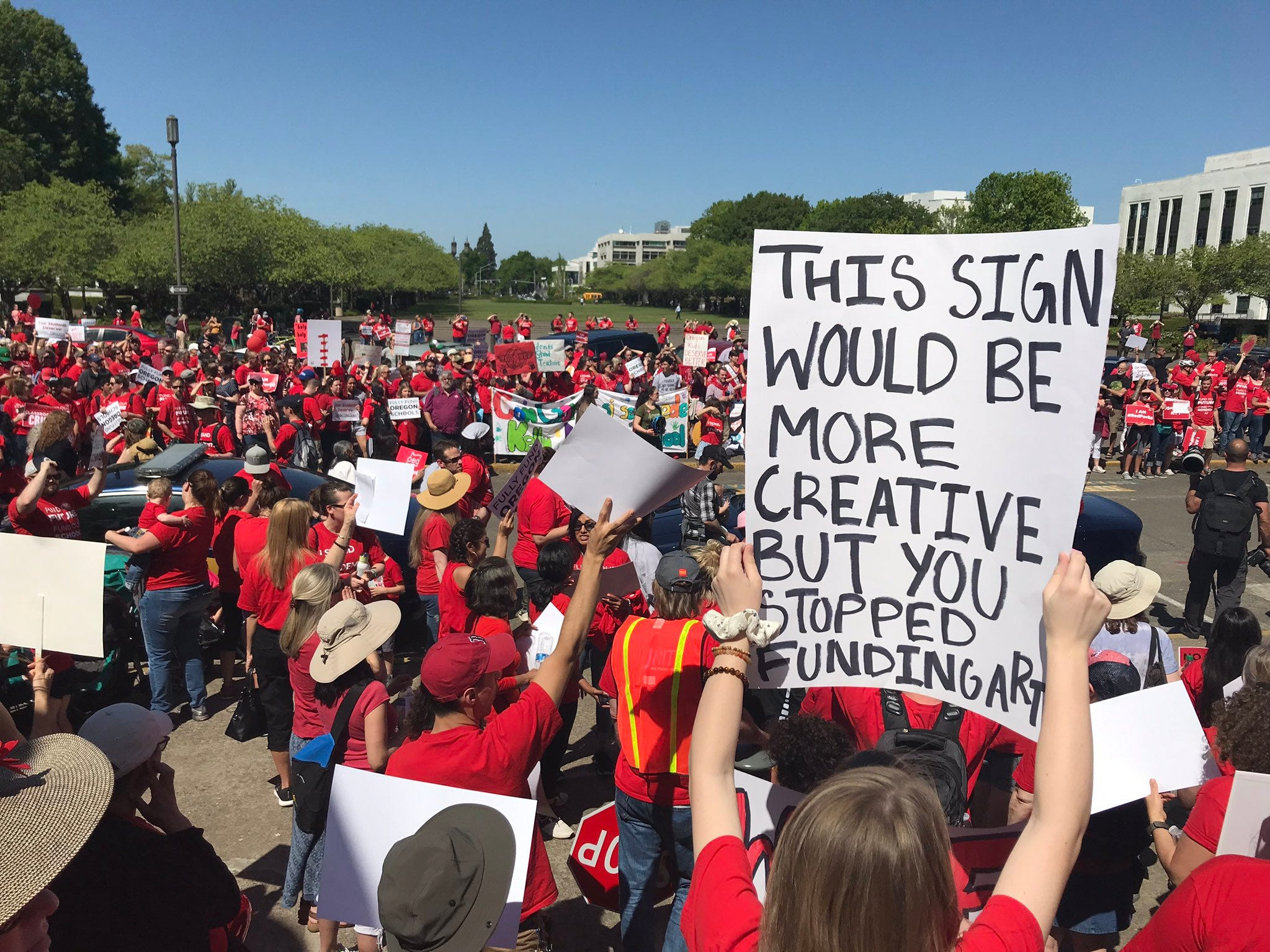 Hundreds of Oregon teachers and their supporters rallied in front of the Capitol in Salem demanding more money for schools .