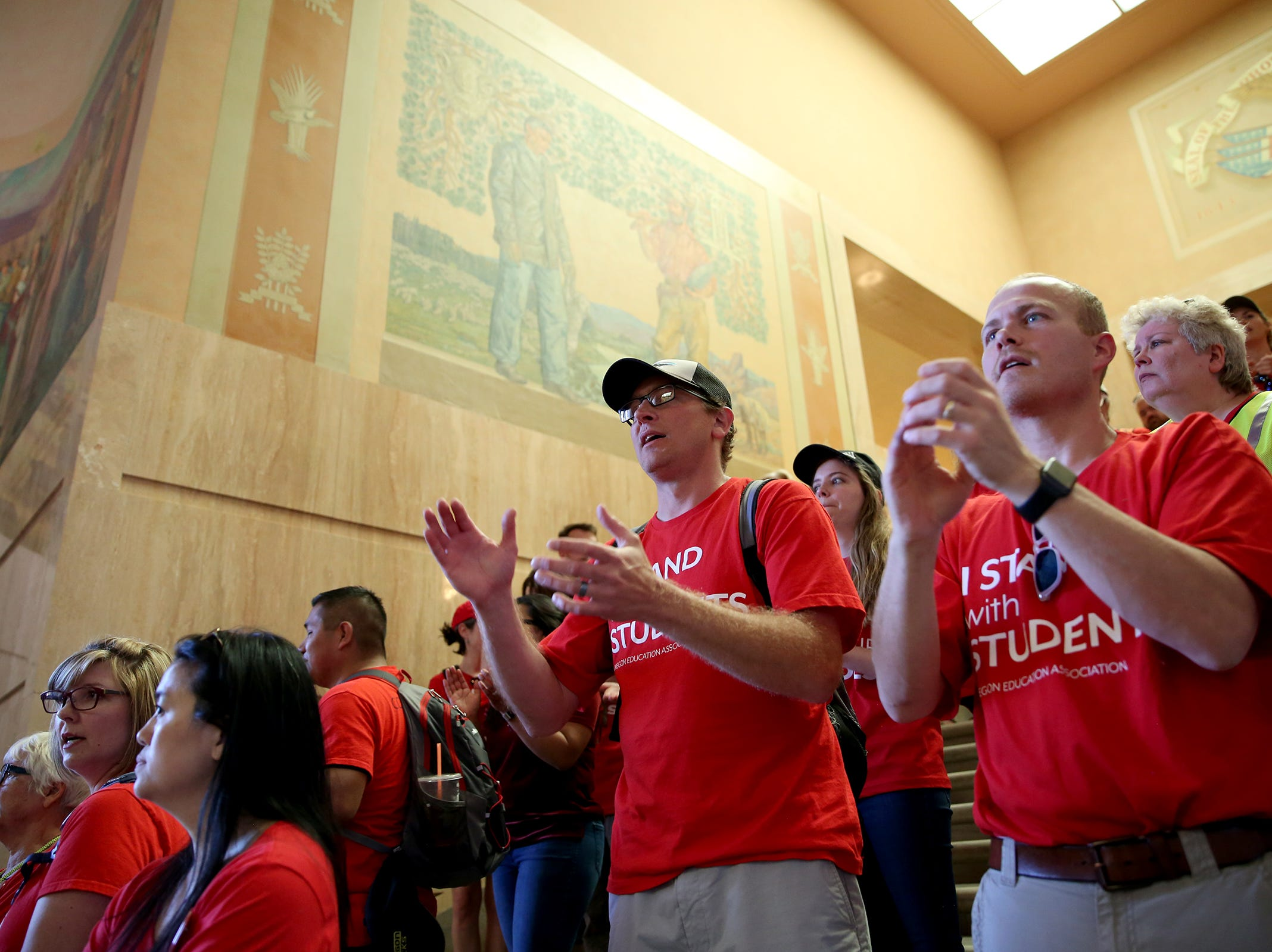 Thousands of teachers and education activists fill the rotunda to demand funding at the Oregon State Capitol in Salem on May 8, 2019.
