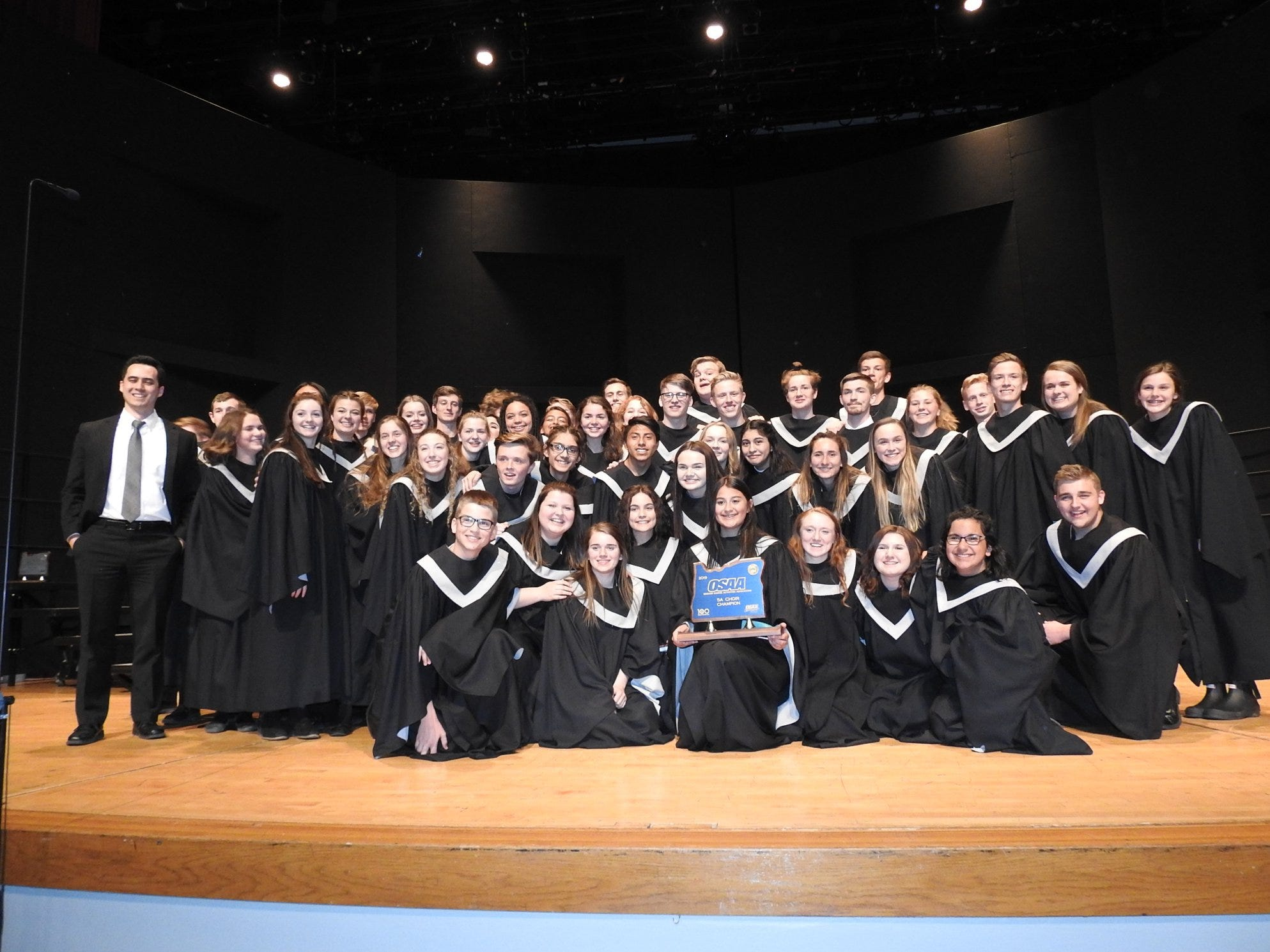 Silverton High School's choir, with their first place award, at the OSAA Choir State Championships at Oregon State University in Corvallis on April 30, 2019.