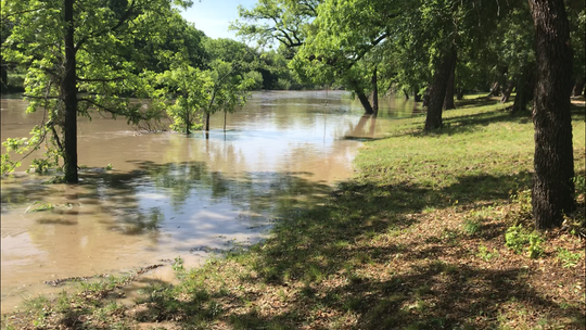 The banks of Spring Creek in Mertzon, Texas, following heavy rains in the early-morning hours of May 8, 2019, in Irion County. It is the second time in seven months the spring-fed creek originating in Irion County has risen to this level.